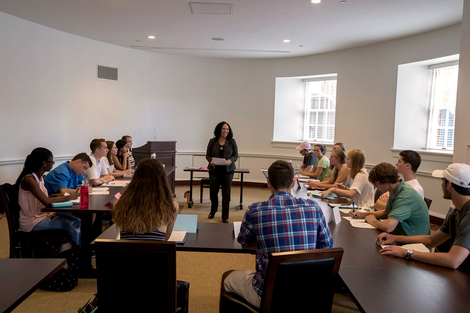 Religious studies assistant professor Nichole M. Flores addresses the first-year students in her College Advising Seminar on religion and politics in the 2016 election. The class was one of the first held in the renovated Rotunda.