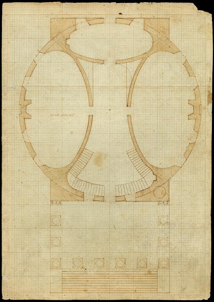Jefferson's Rotunda drawings resemble a U.S. Capitol layout he planned. (Thomas Jefferson University of Virginia, Rotunda June 16, 1823 (N-330). Thomas Jefferson Papers, Albert and Shirley Small Special Collections Library at the University of Virginia)