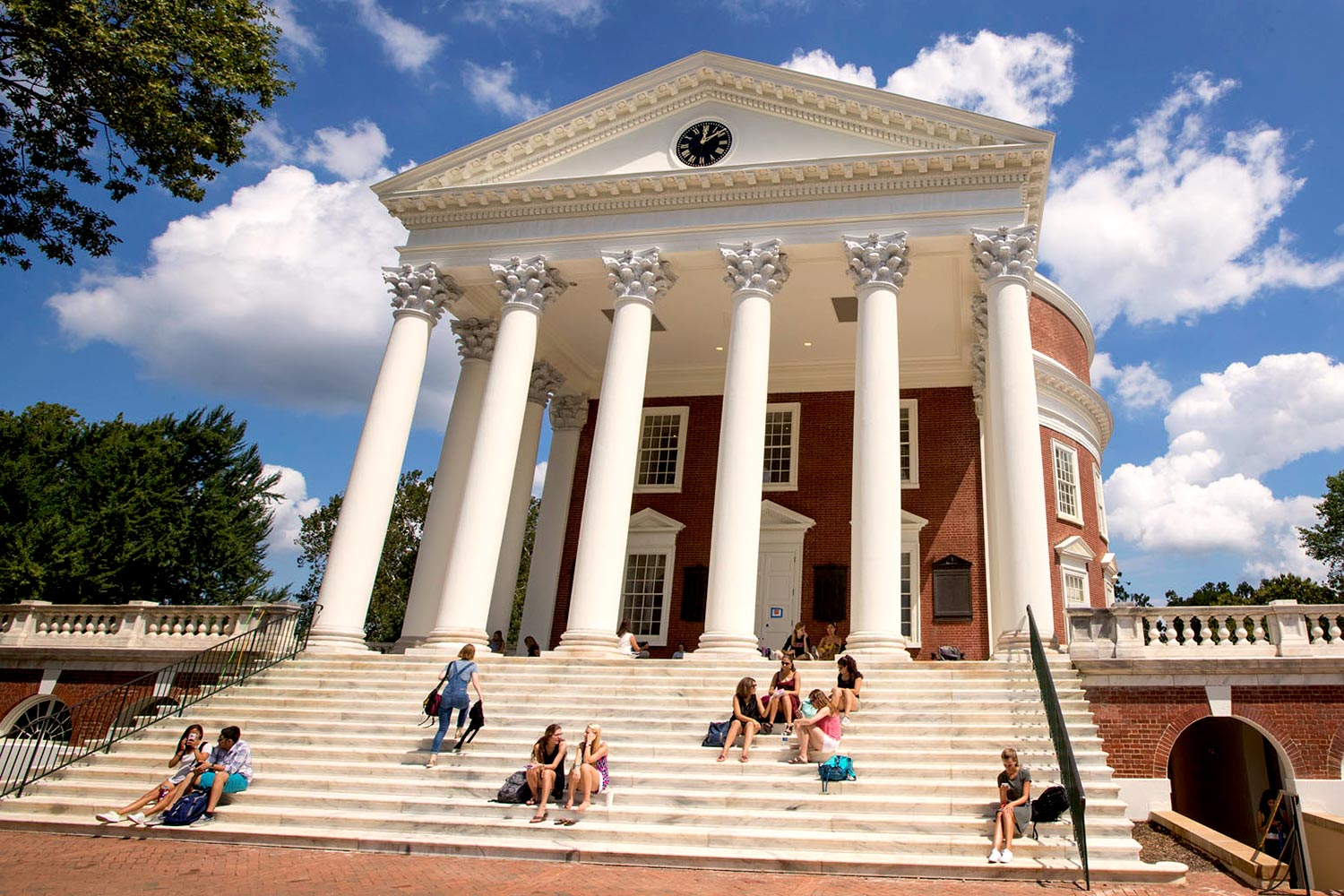 Students return to the steps of the University of Virginia's iconic Rotunda on the first day of classes.