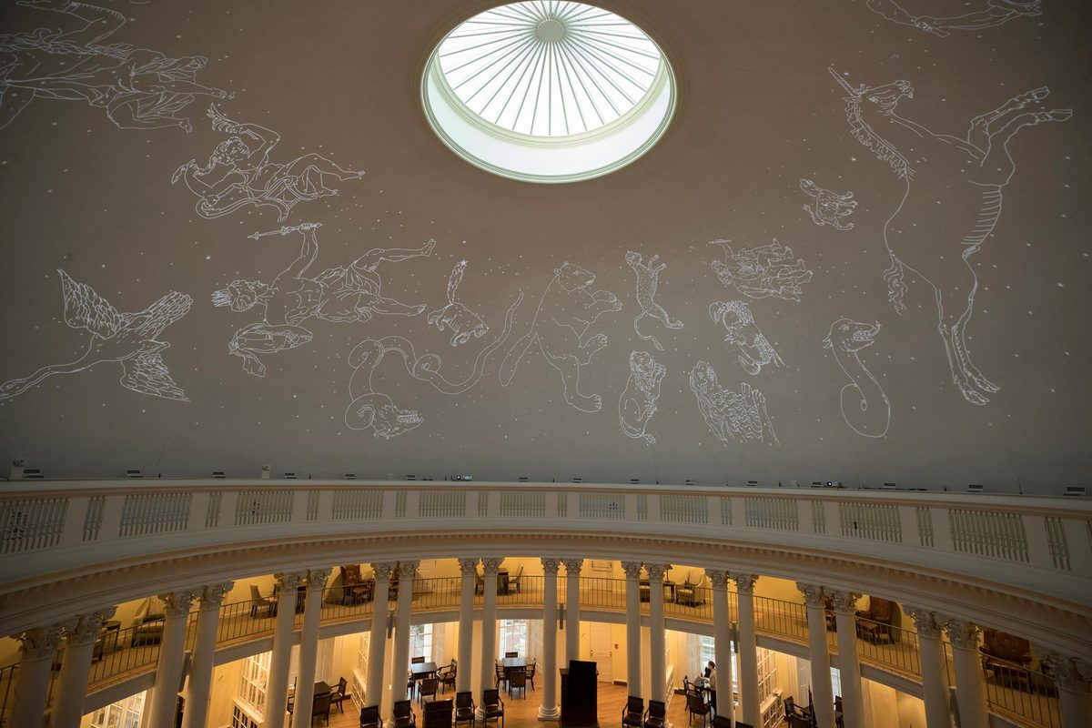 The Ph.D. candidates traced the images of constellations based on Flamsteed's celestial atlas and star catalog.