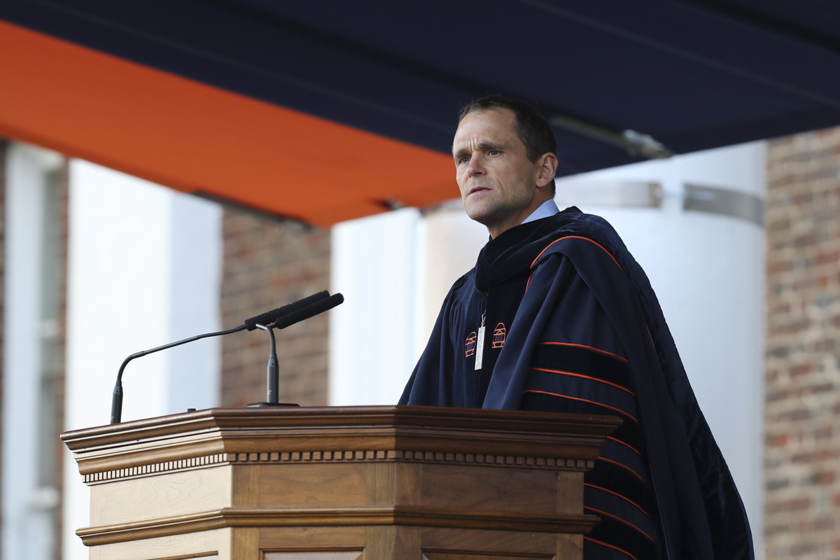 Jim Ryan, UVA's ninth president addressed the crowd at his inauguration. (Photo by Dan Addison, University Communications)