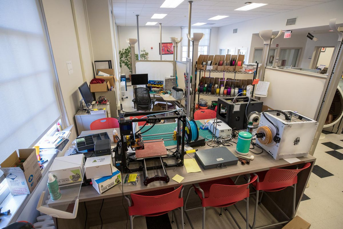 The Scholars' Lab, located in Alderman Library, has helped with 3-D printing protective equipment and GIS mapping. (Photo by Dan Addison, University Communications)