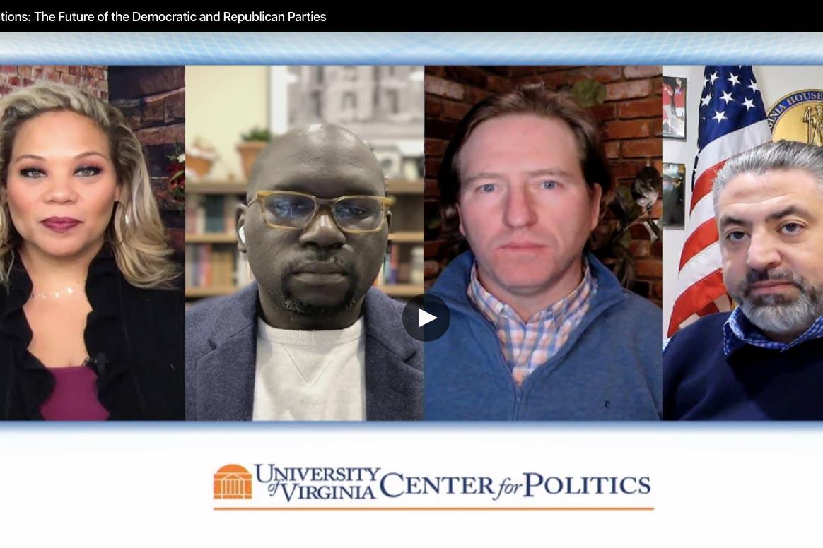 Wednesday's virtual panel included, left to right, Tara Setmayer, Jamelle Bouie, Chris Krebs and David Ramadan.