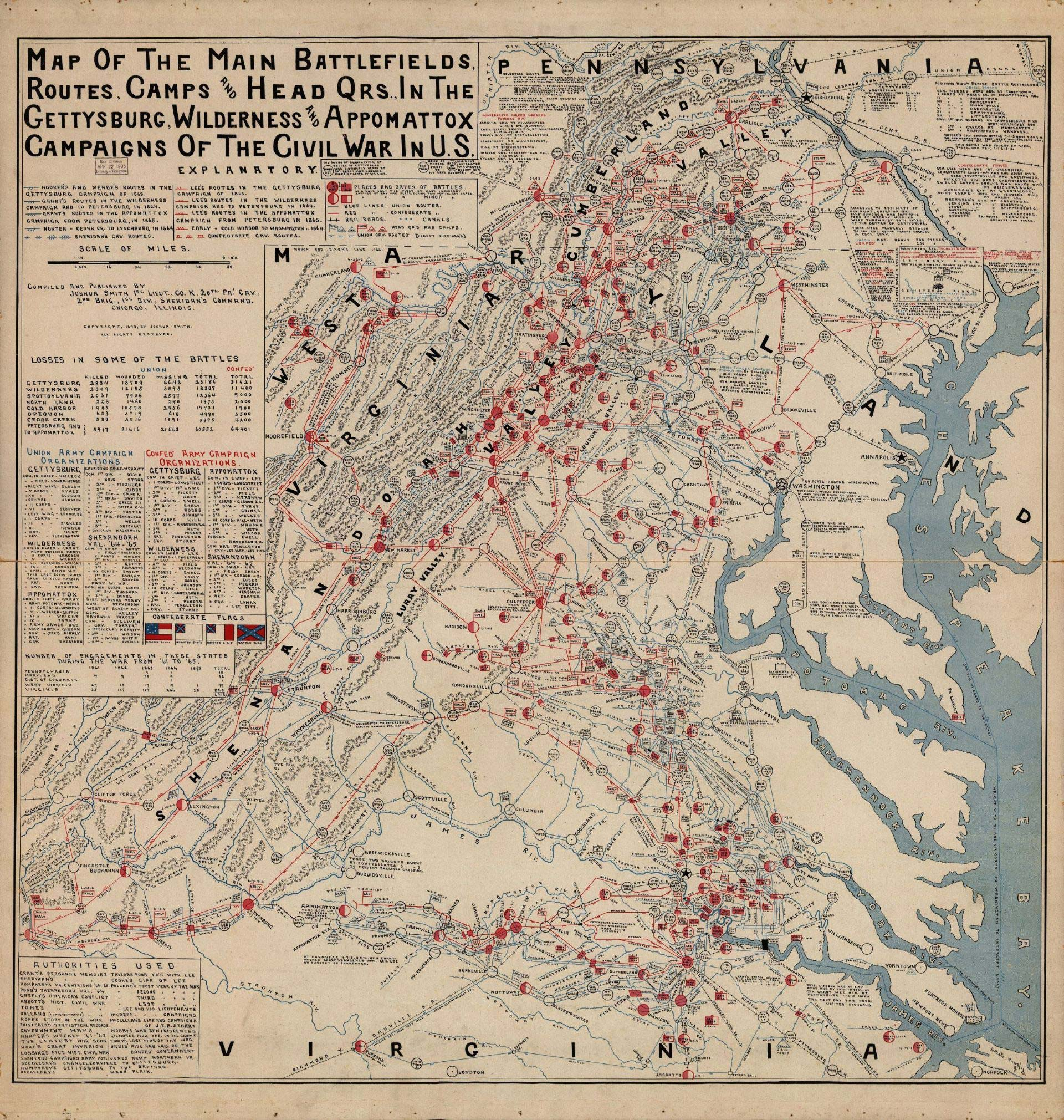A map shows military actions in the second half of the Civil War in Virginia.