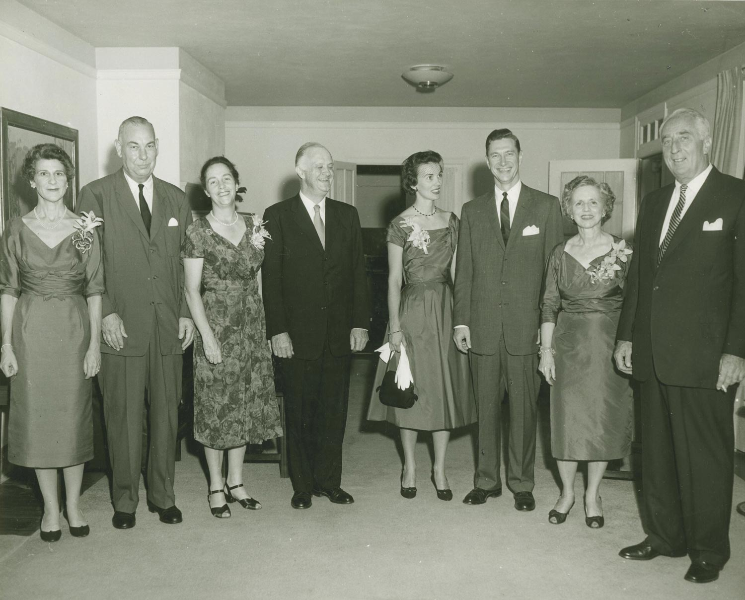 Edgar F. Shannon was UVA's fourth president. Third from the right, he is pictured here with his predecessor Darden, fourth from the left.