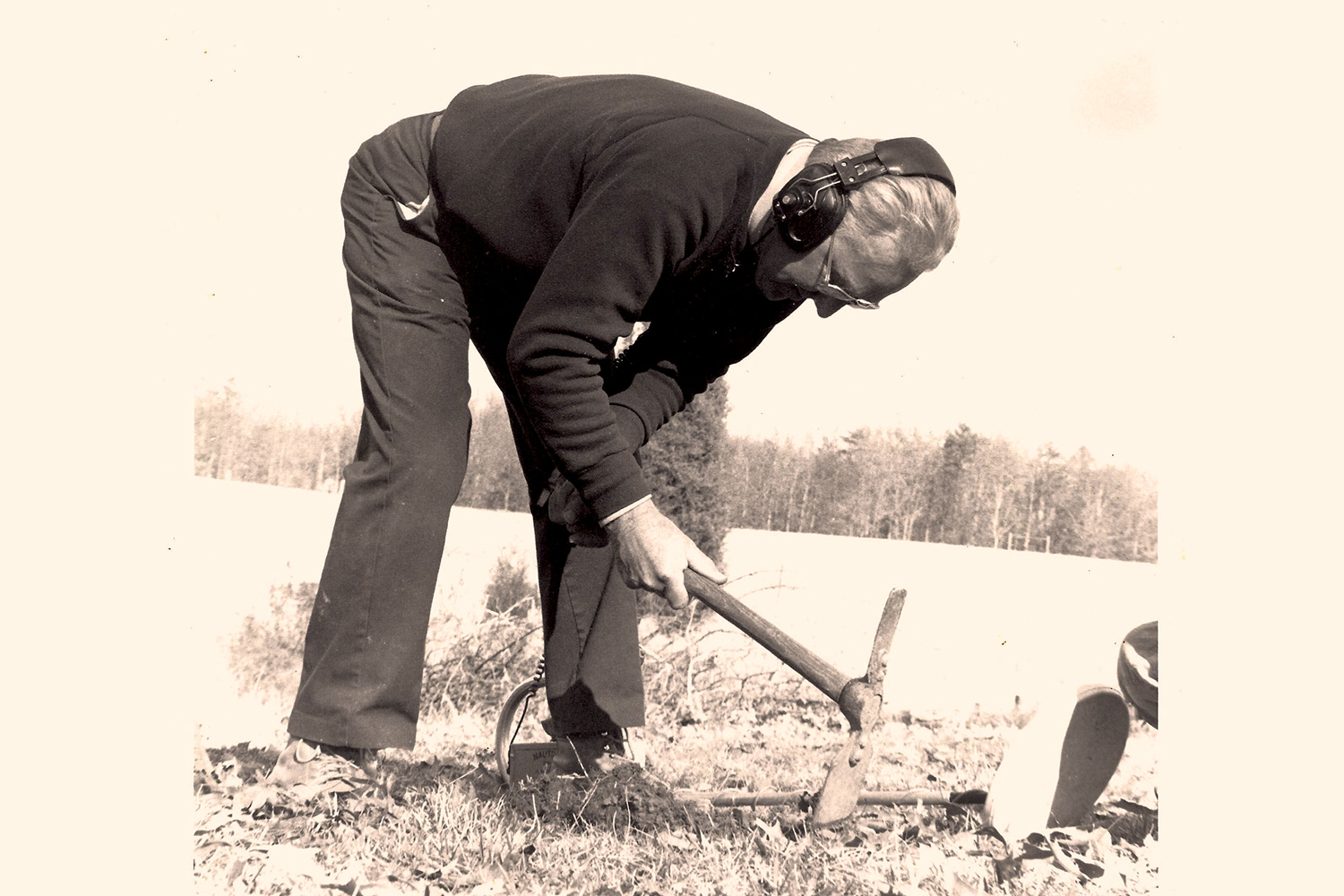 An undated photo of Raymond Shaw hunting for Civil War artifacts. His family jokes that this was his favorite posture.