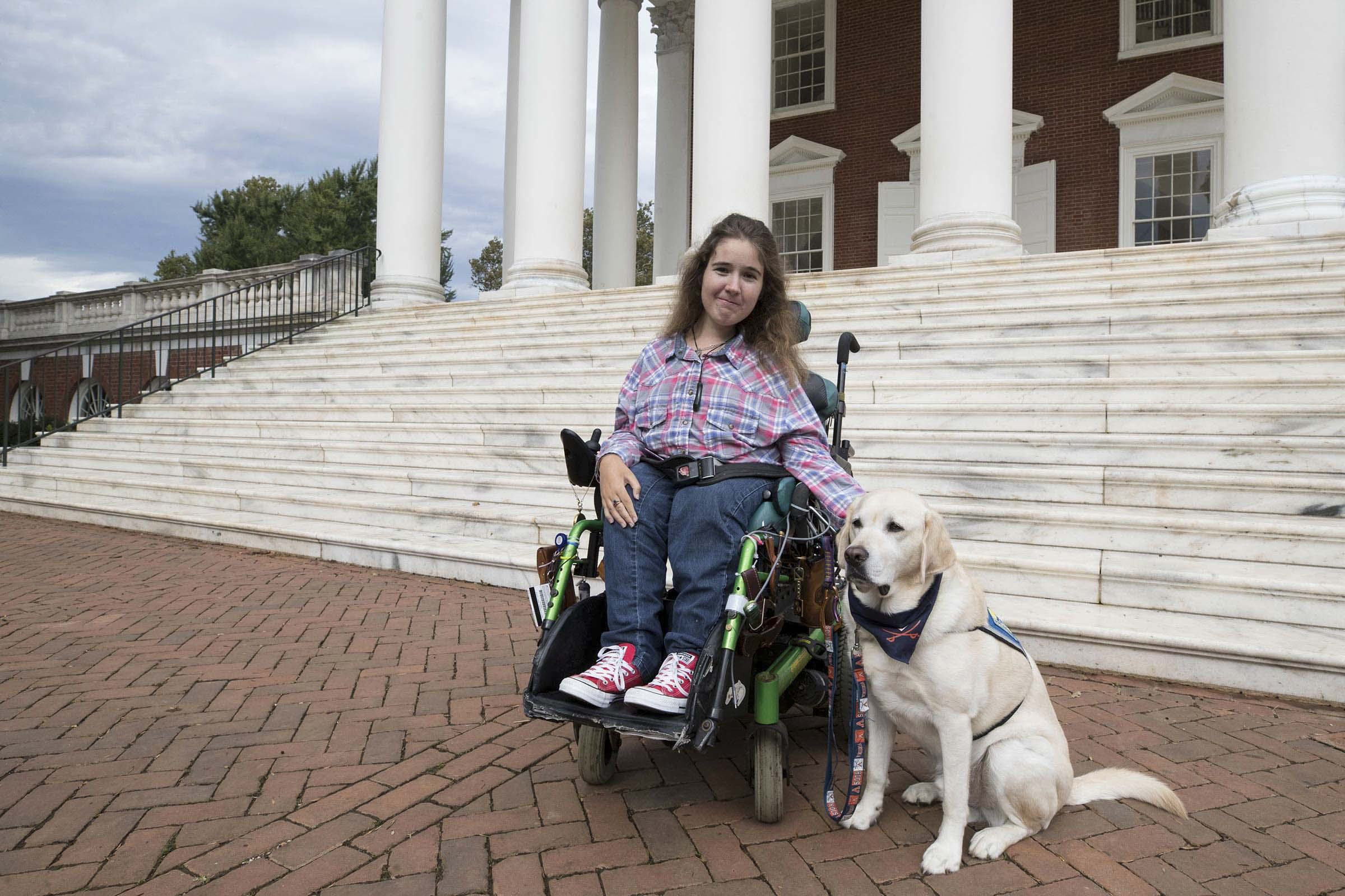 Megale and her service dog Pierre have both enjoyed the move to UVA.