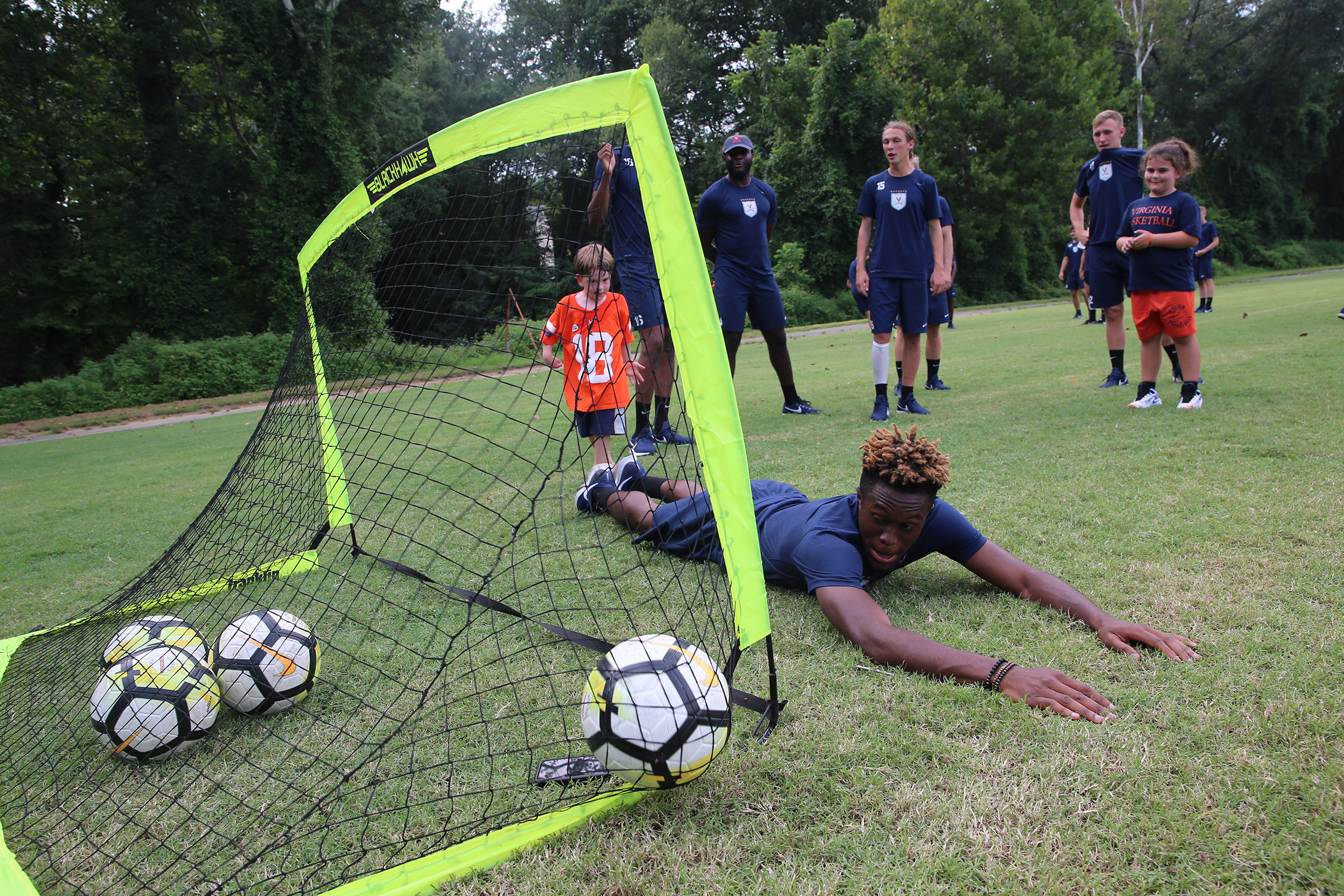 Third-year soccer player Simeon Okoro might need to brush up on his goalie skills.