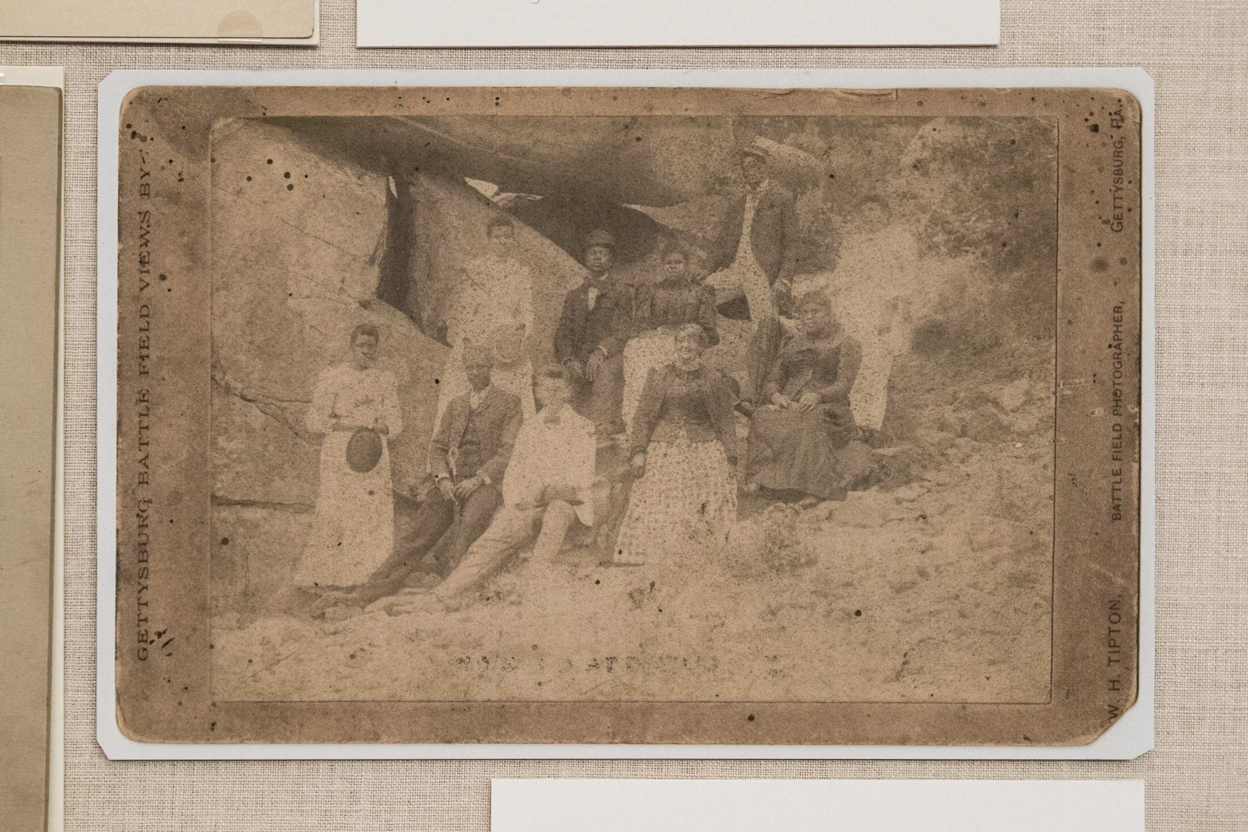 This is a facsimile of an album in print circa 1890s of a group of black tourists visiting Gettysburg Battlefield.