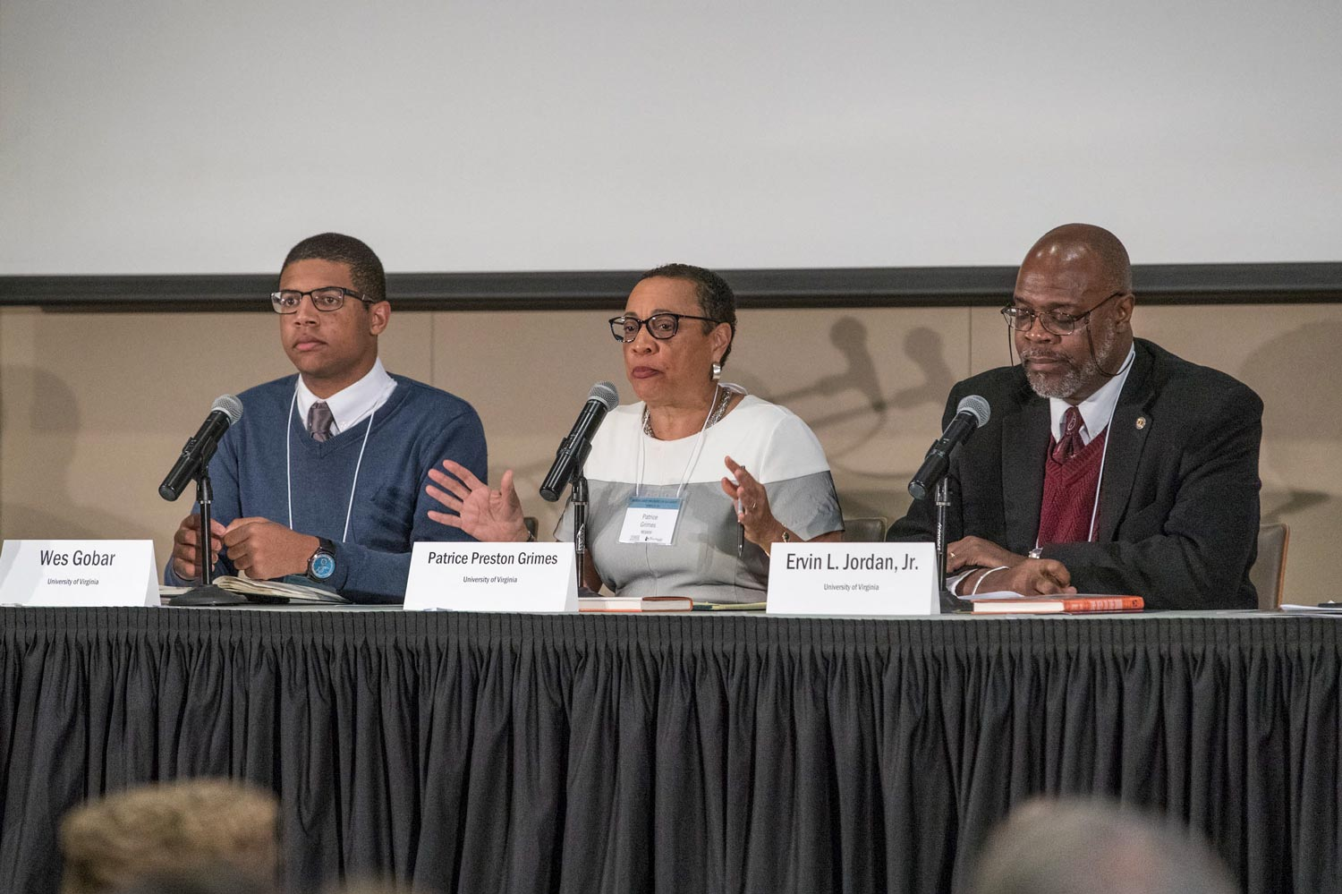 "The first panel on ""Slavery and Its Legacies at UVA"" included student Wes Goba and faculty members Patrice Grimes, Ervin L. Jordan Jr., Louis Nelson and Kirt von Daacke, with professor Elizabeth Varon as moderator."
