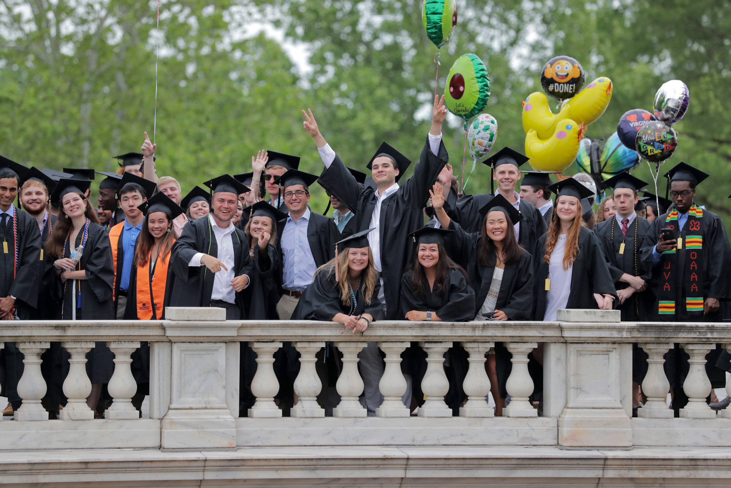 Graduates of the College and Graduate School of Arts and Sciences walked the Lawn on Saturday during the first of two days of Final Exercises 2019. (Photos by Dan Addison, Sanjay Suchak, Shannon Reres and Kristen Finn)