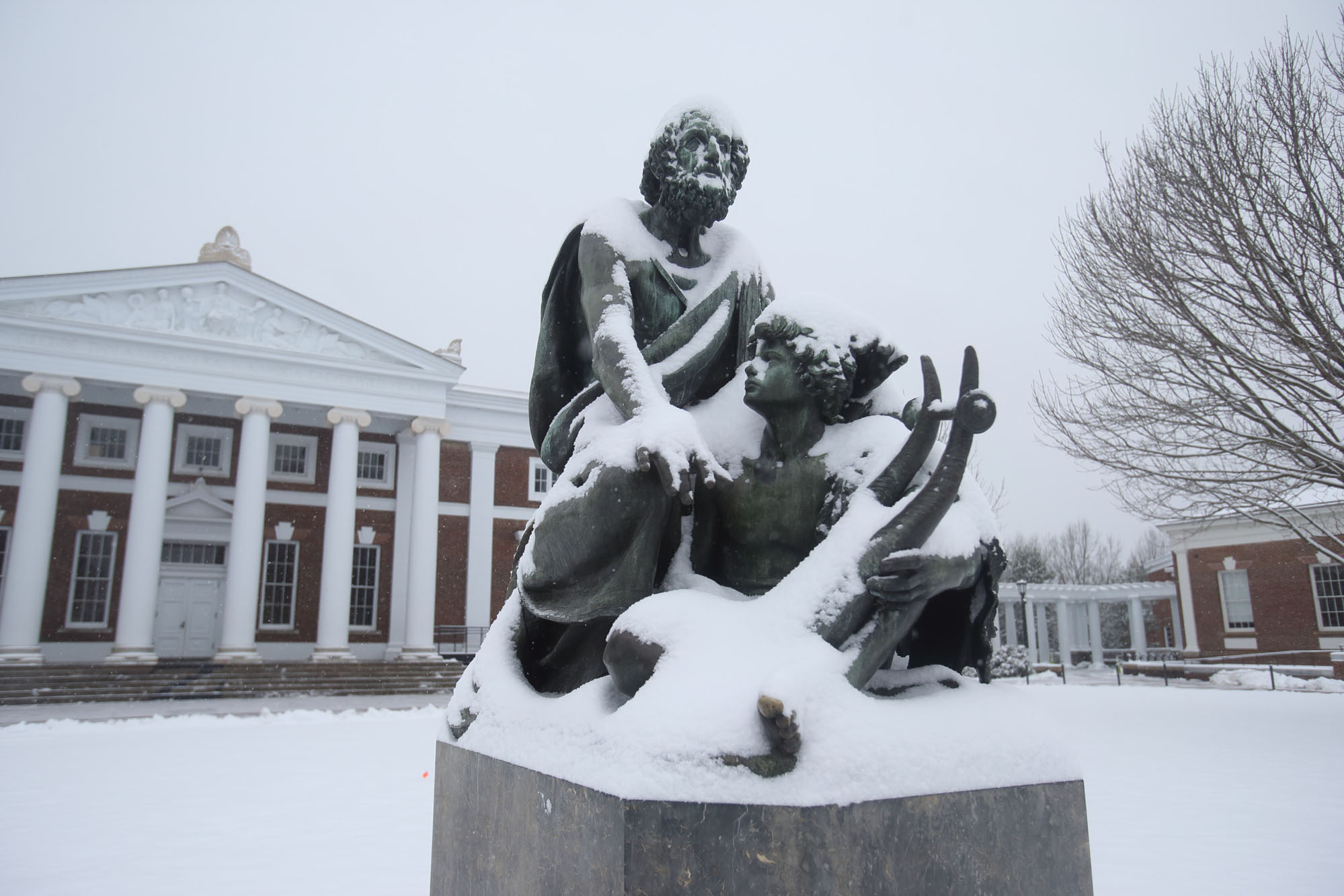 Homer statue in snow
