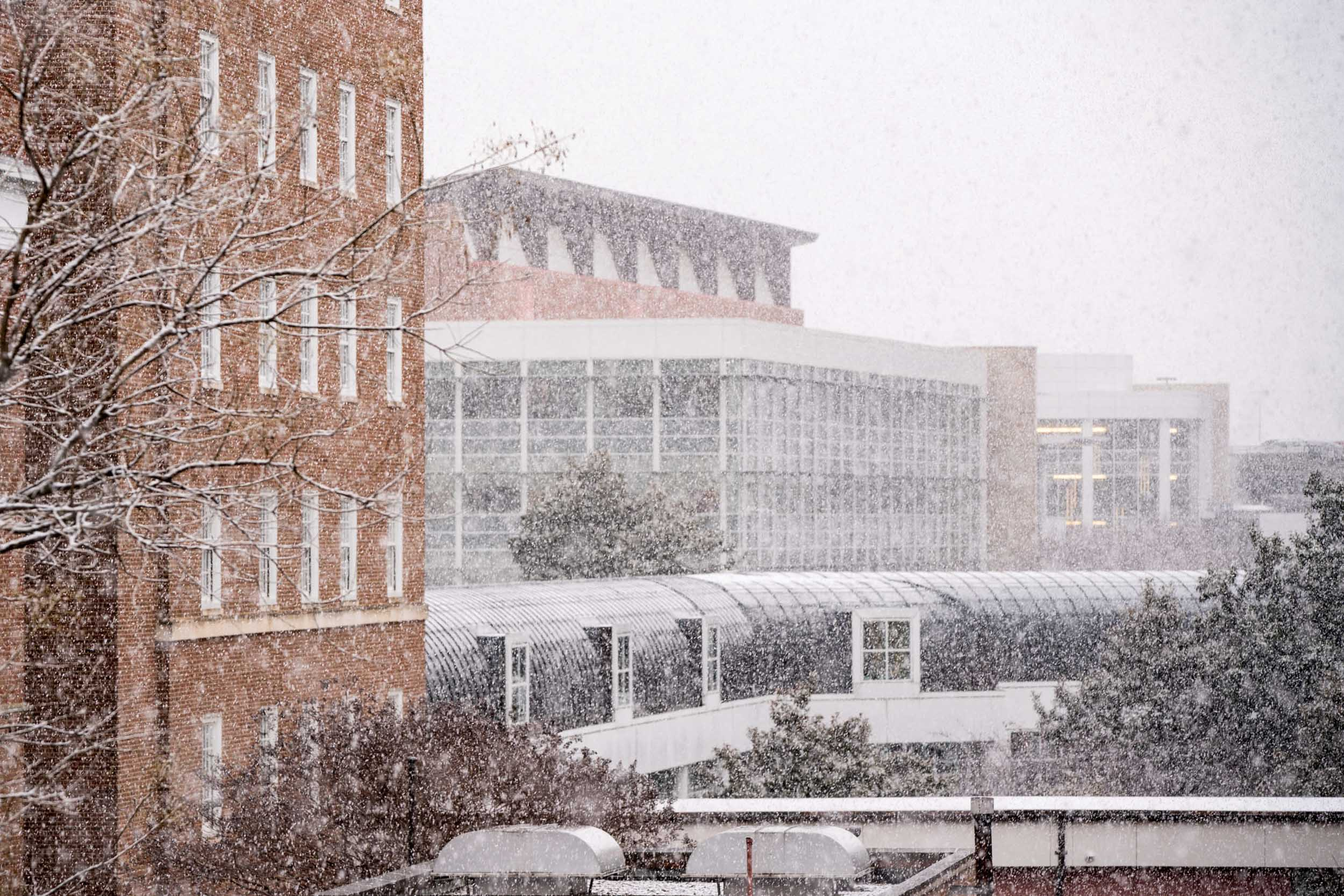 UVA Health and the School of Medicine shrouded in snow.