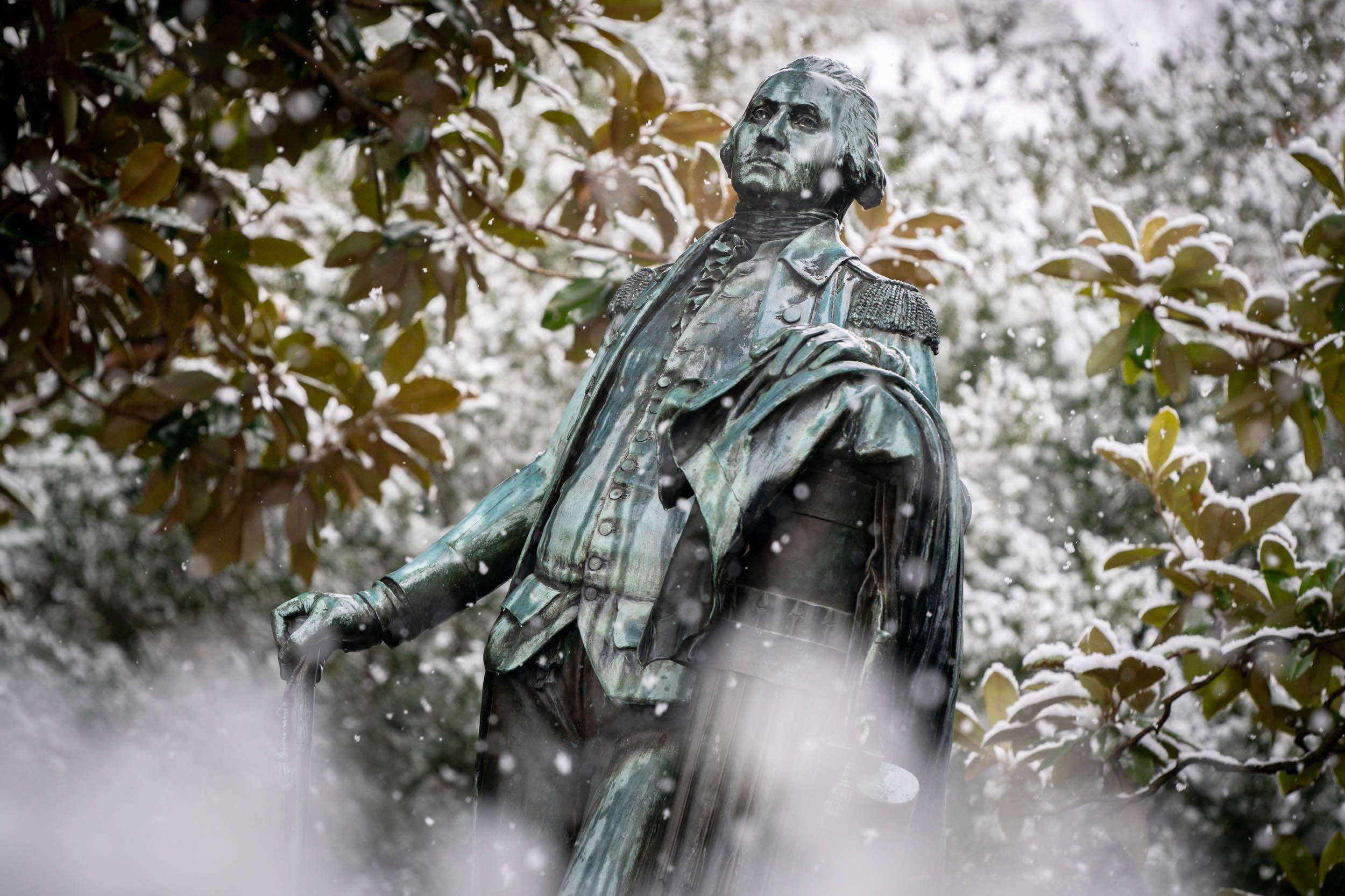 George Washington surveys the scene.