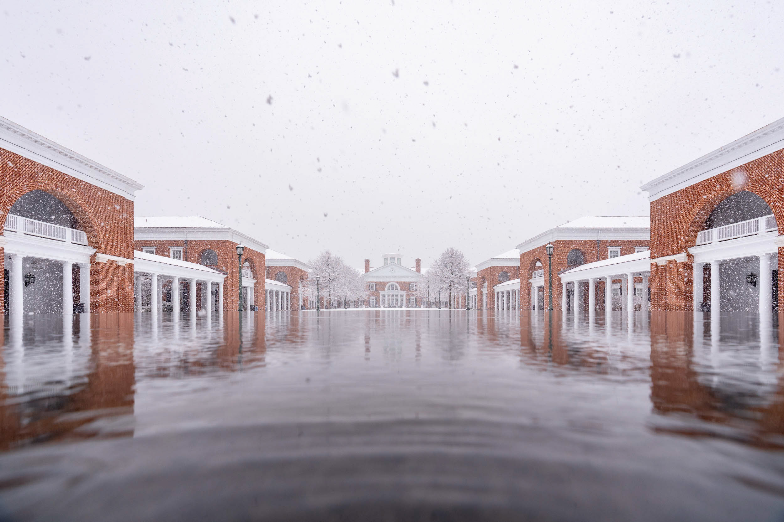 Don't worry, the Darden School of Business didn't flood – it's a reflection.