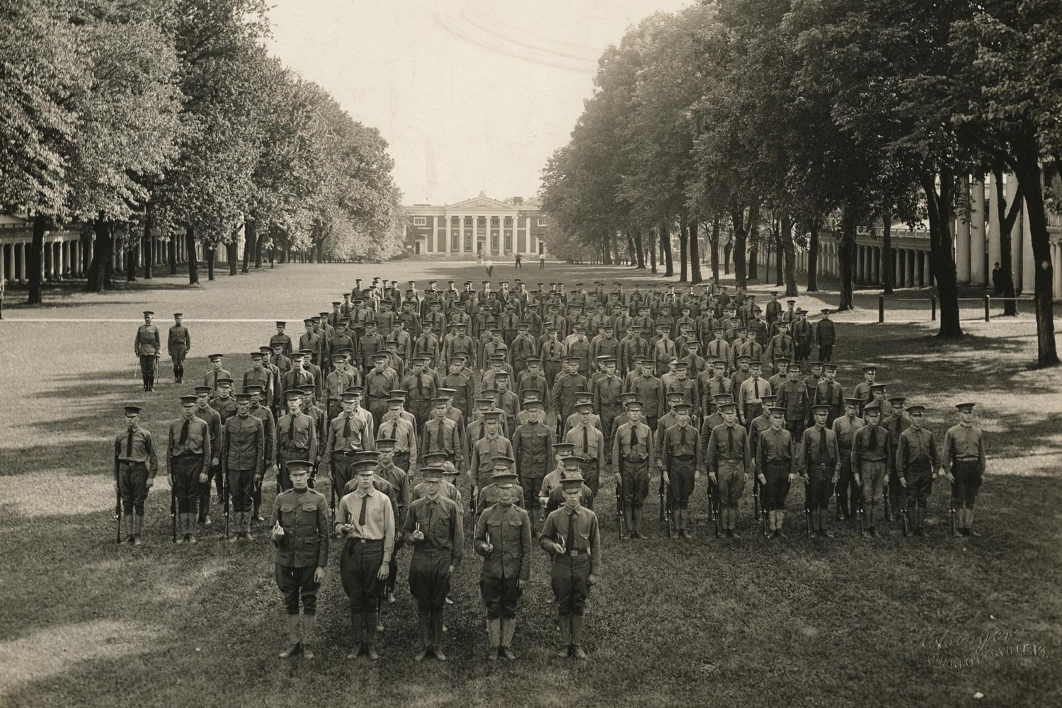 Soldiers on the Lawn during World War I.