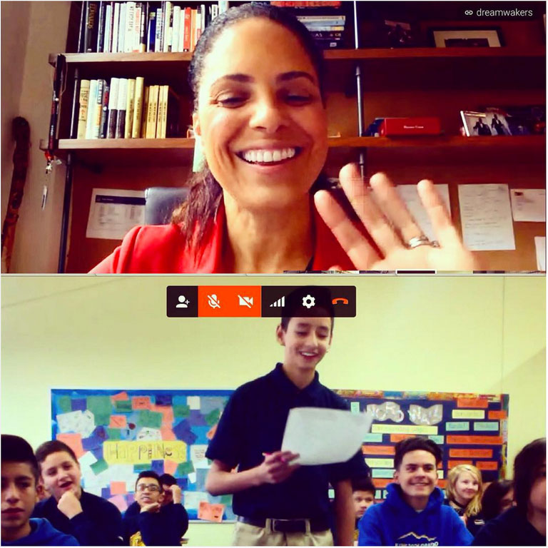 Broadcast journalist Soledad O'Brien takes questions during a flashchat with eighth-graders in Denver.