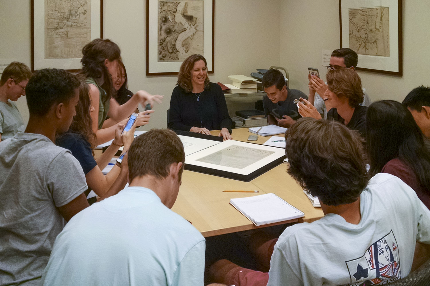 When Special Collections curator Molly Schwartzburg showed students one of the first-known printings of the Declaration of Independence, many took out their phones to take photos of the historic document.