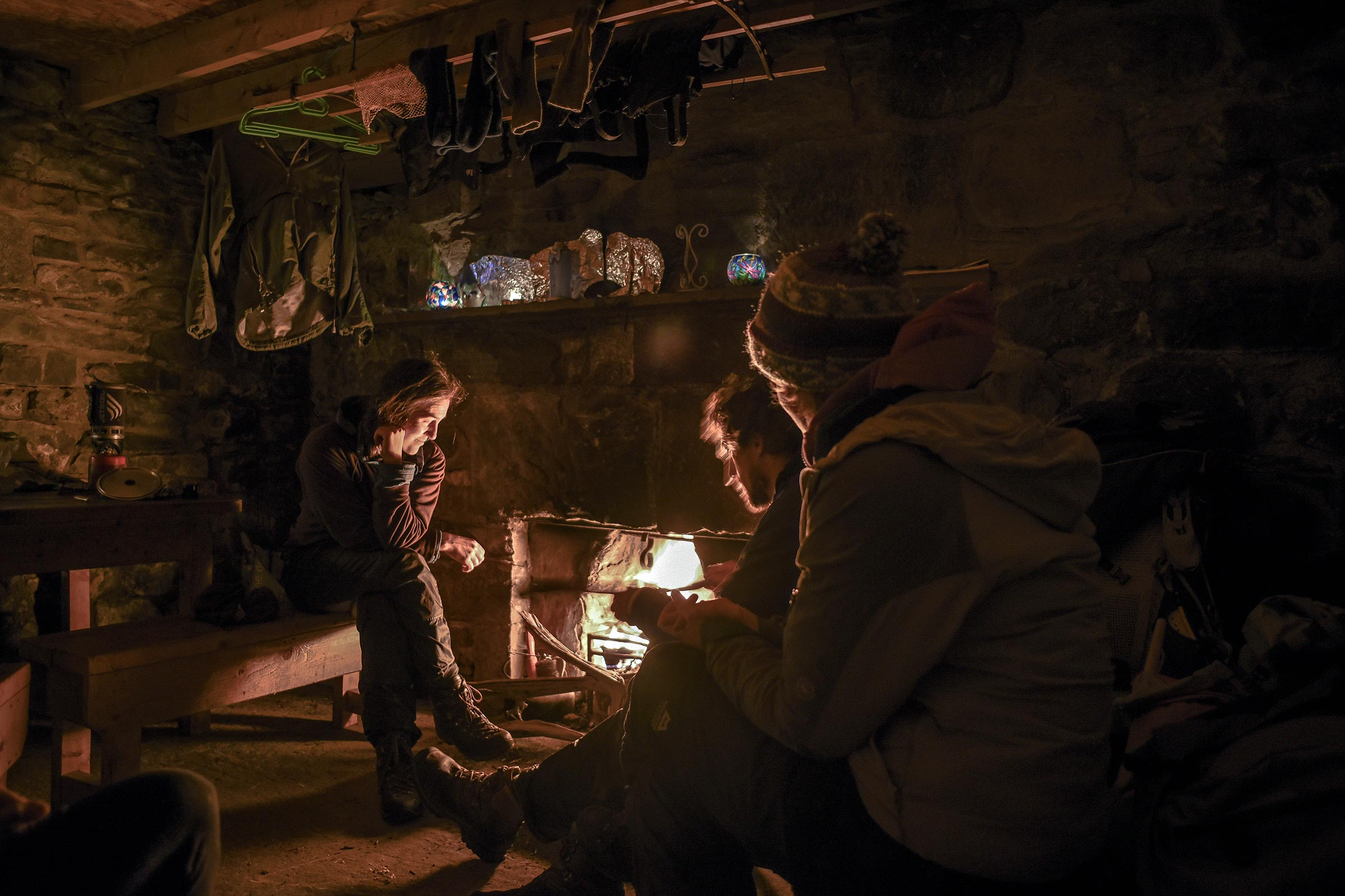 Hiltner met other adventurers on his journey, including new friends Francis, Tom and Lynn at a bothy in the Scottish Highlands.