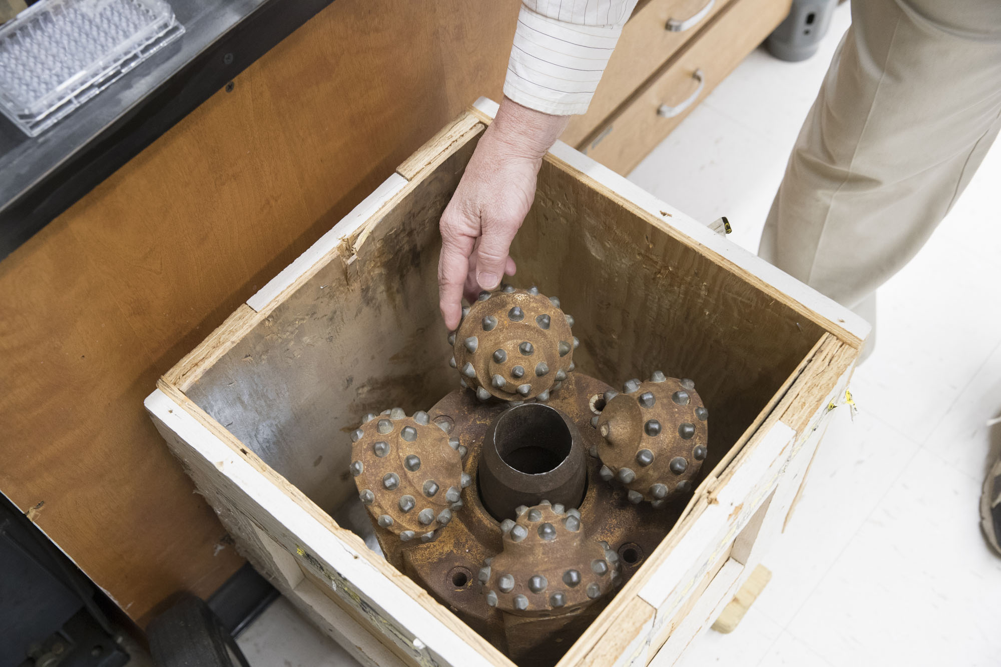 Macko's new 200-pound drill bit from a scientific ship. It's been to the bottom of the sea, as has Macko.