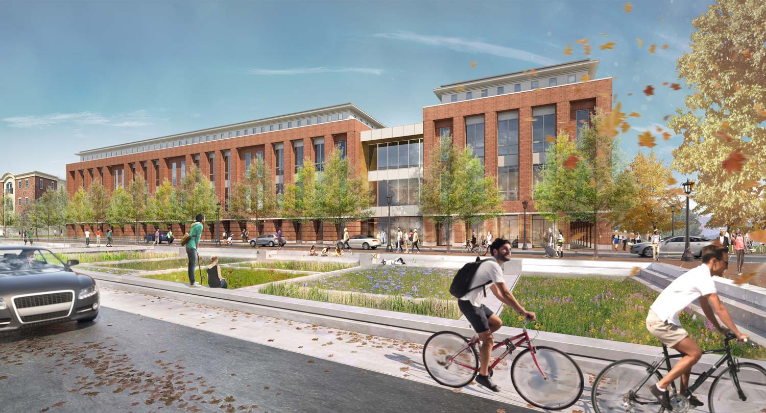 This is an alternate view of the new Student Health and Wellness Center, which will greatly expand services and incorporate a raft of new wellness programming.