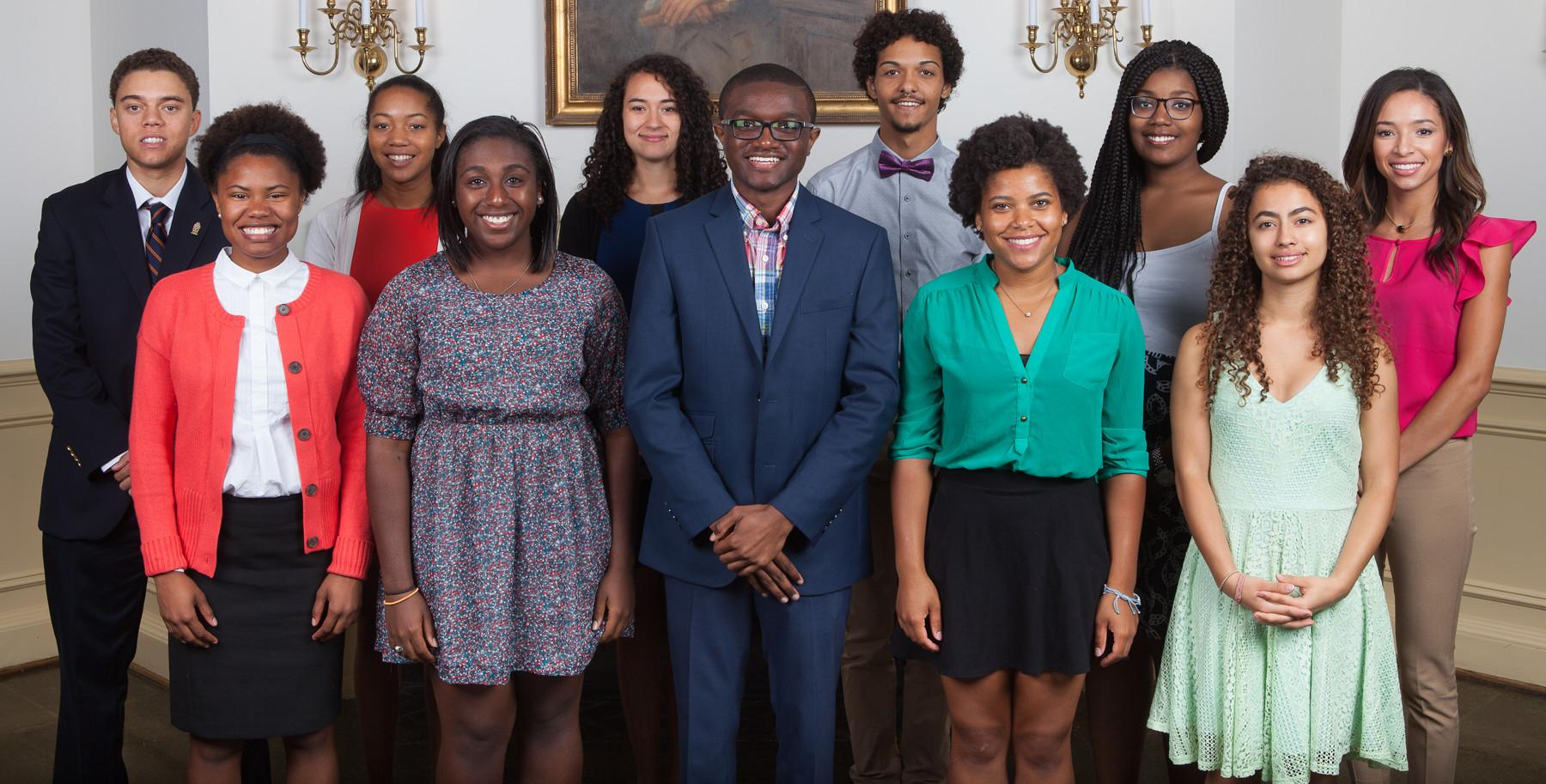 Current Ridley Scholars, top row from L-R: Jacob Uskavitch, Dominique Willis, Kiera Givens, Triston Smith, Ravynn Stringfield and Nena Evans. The second row, from left to right: Jasmine Zollar, Micah Watson, Tyler Ambrose, Bianca Decatur, Stephanie Durham