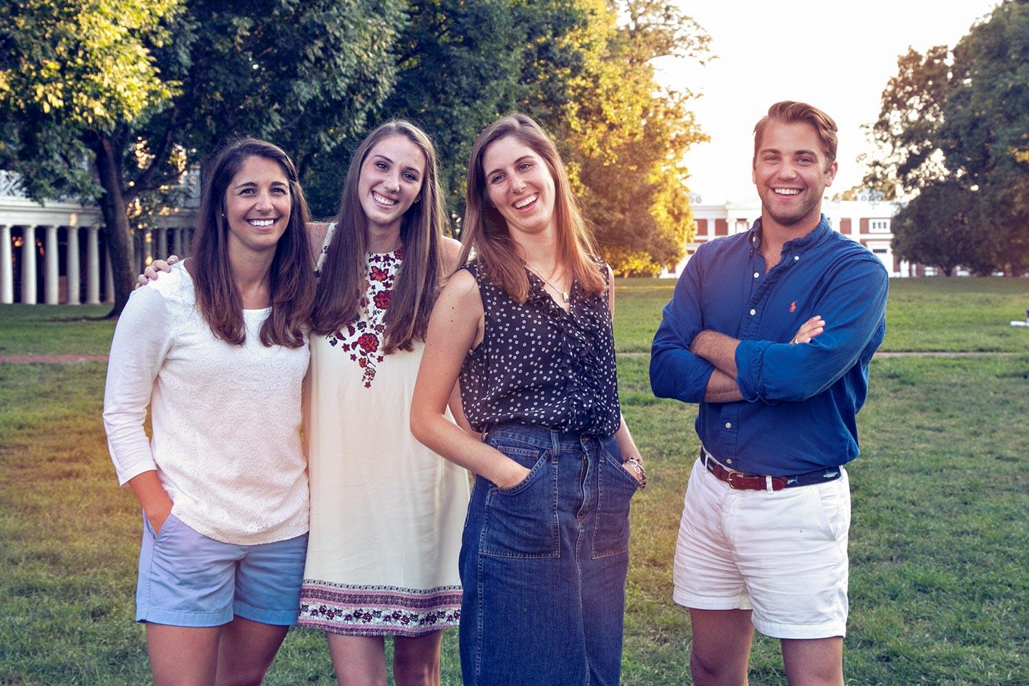 From left, siblings Phoebe, Catesby, Larkin and Gordon Willis Jr. are sixth-generation University of Virginia students.