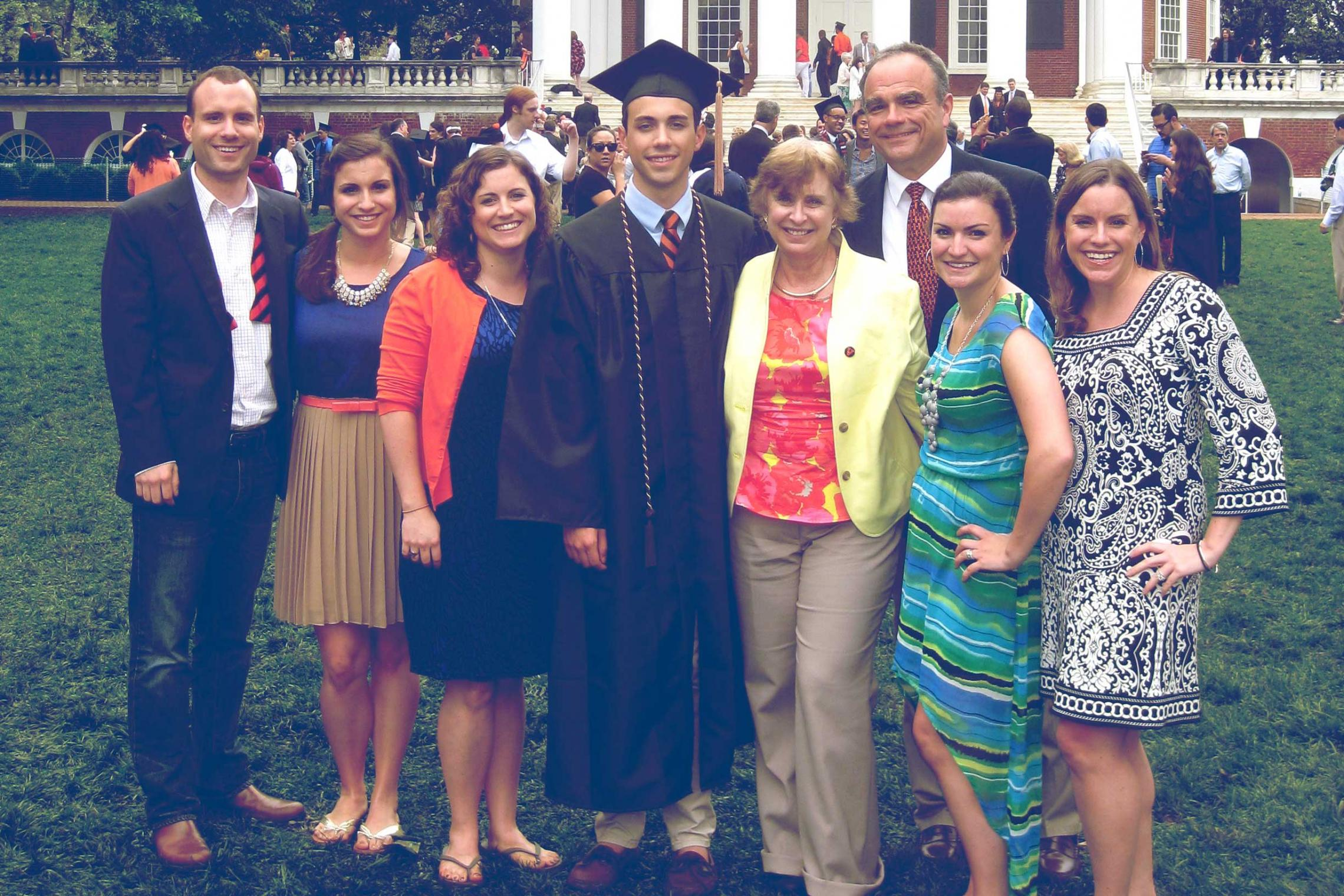 The whole Harris family, from left to right, Greg, Elizabeth, Julianne, Matthew, Maura, Greg, Kathryn and Kelly.