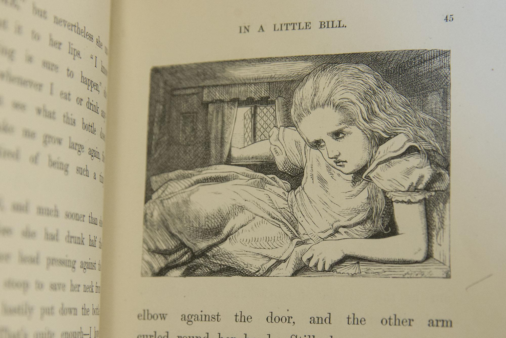 u va joins the celebration of alice at even in old english the original illustrator john tenniel drew alice in a tight spot in a first edition of lewis carroll s alice s adventures in wonderland published in