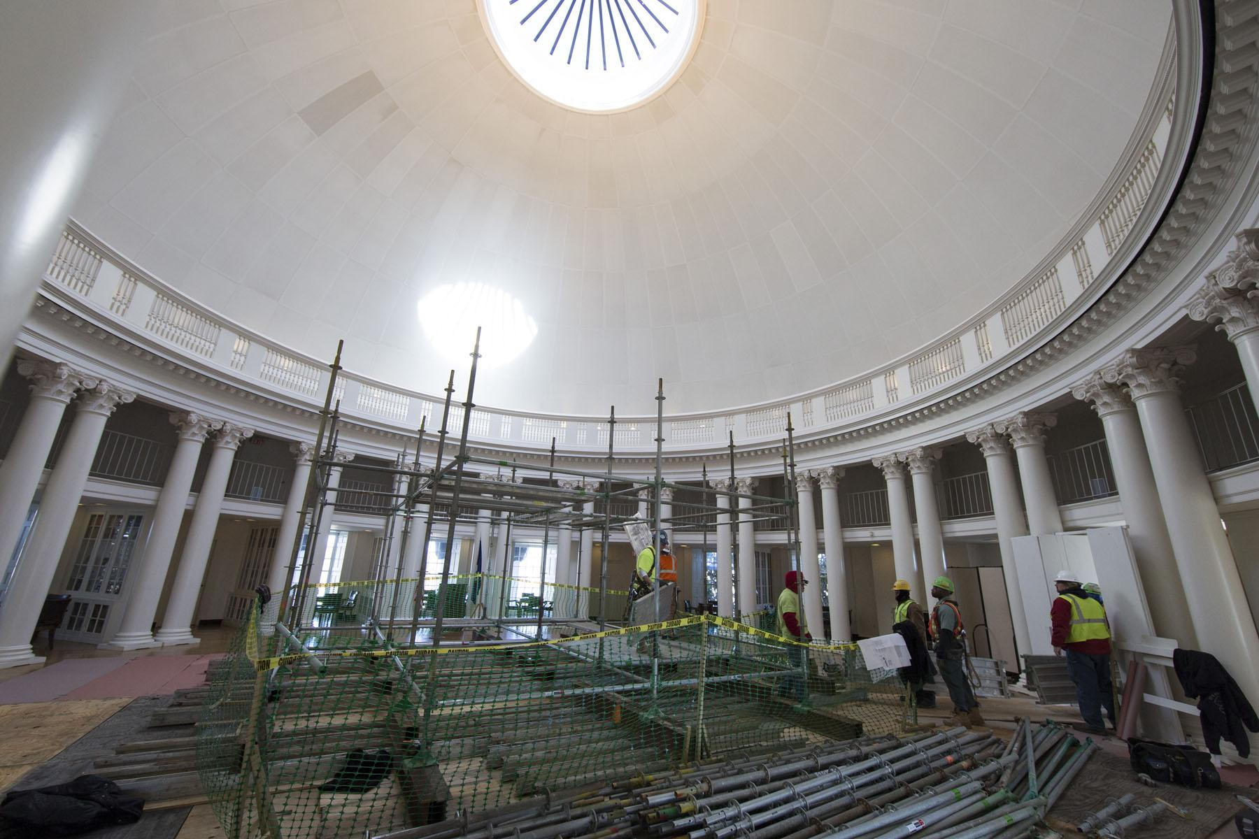 Rotunda Renovators Prepare To Remove Skylight Make Brick