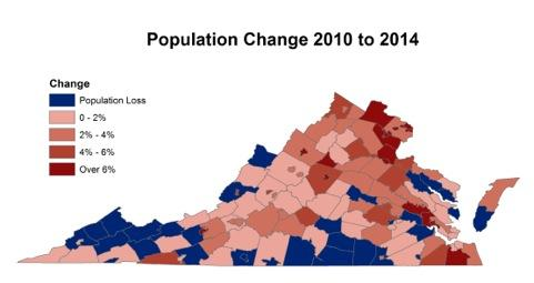 Virginias Population Growth Slows To Decades Low Cities Rebound - Virginia county map with cities