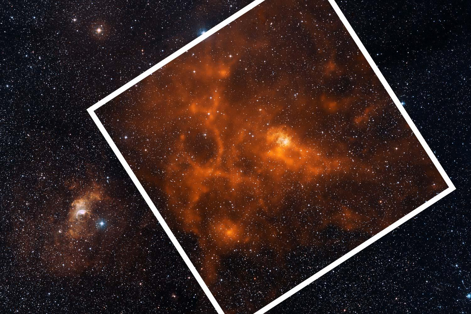 Interstellar dust, which shines brightly in infrared light (seen here in orange), is the material from which all stars and planets form.