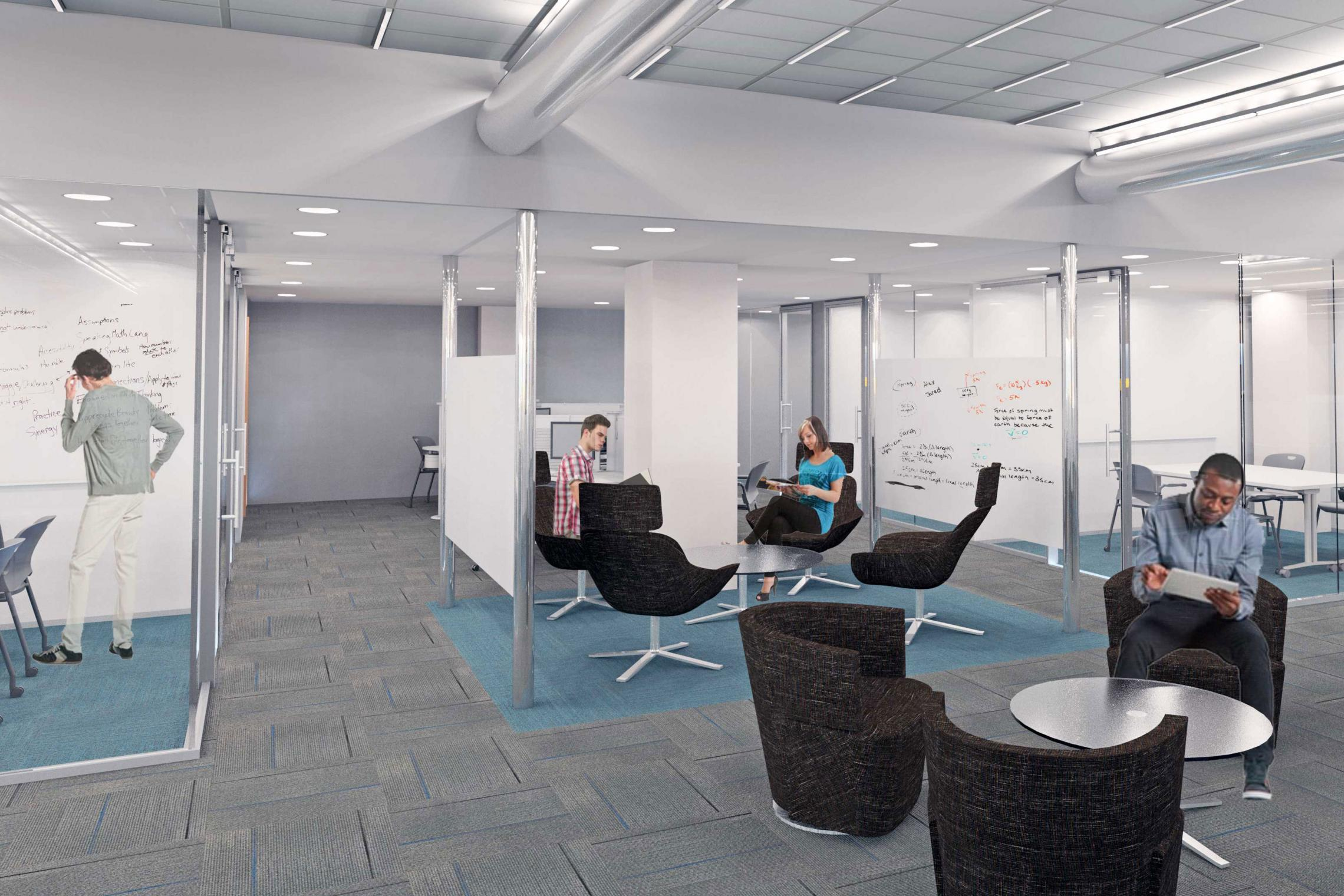 A rendering of public study areas in the planned advising center, available for one-on-one meetings, tutoring and studying.