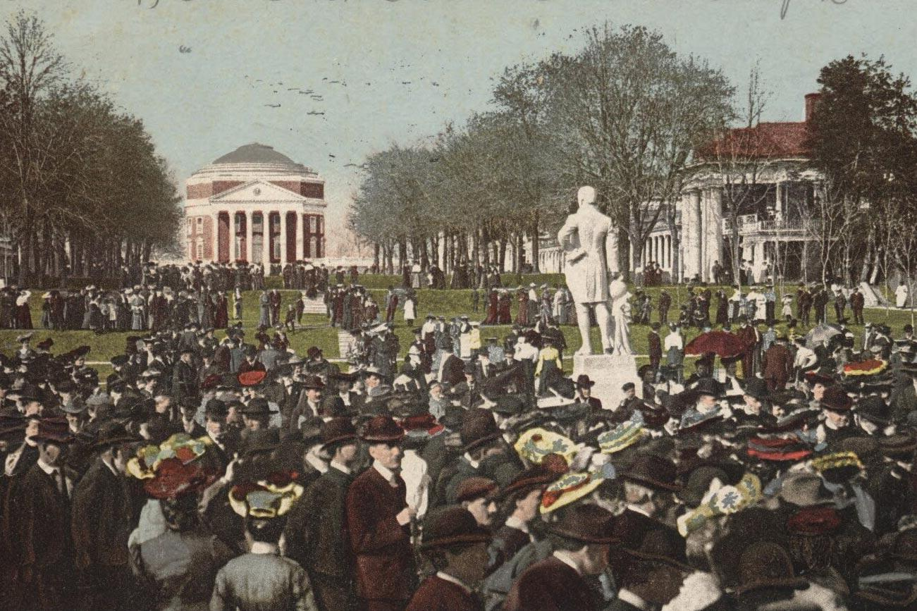 A postcard from the 1905 inauguration of Edwin A. Alderman. The statue depicted here appears to be of James Monroe. The Homer statue that today stands in that vicinity was unveiled two years later.