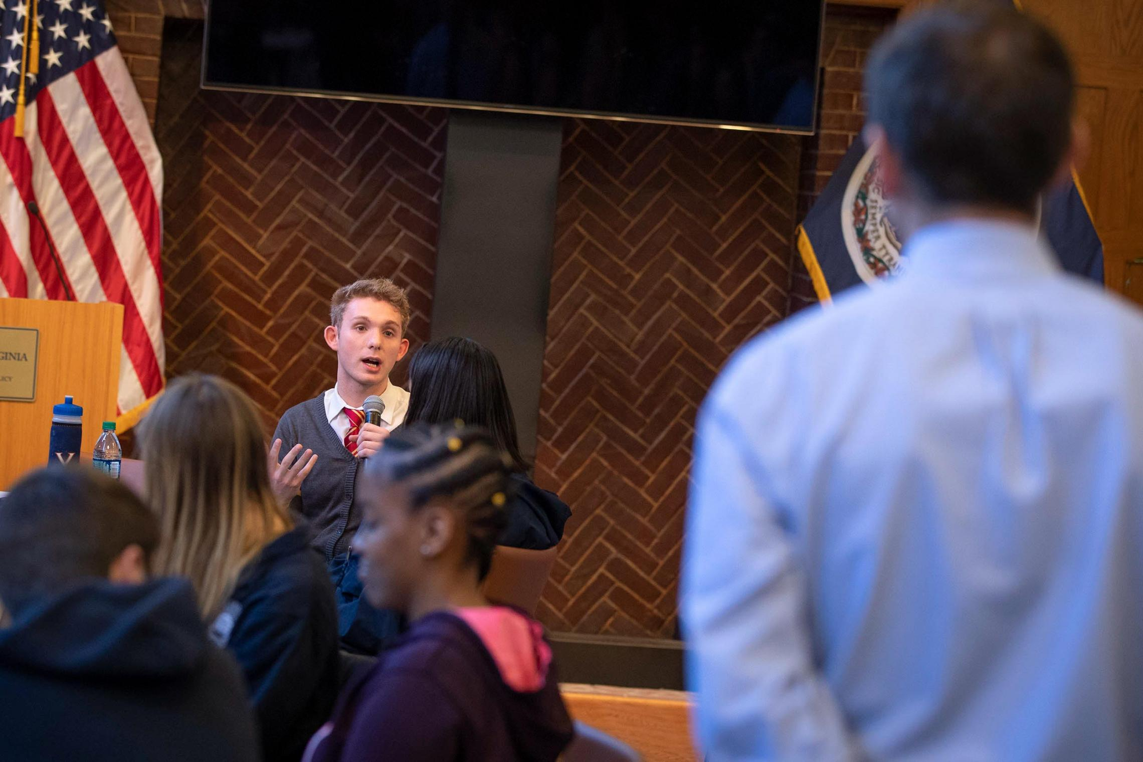 Josh Farris asks UVA President Jim Ryan a question at town hall earlier this semester at the Batten School of Leadership and Public Policy.