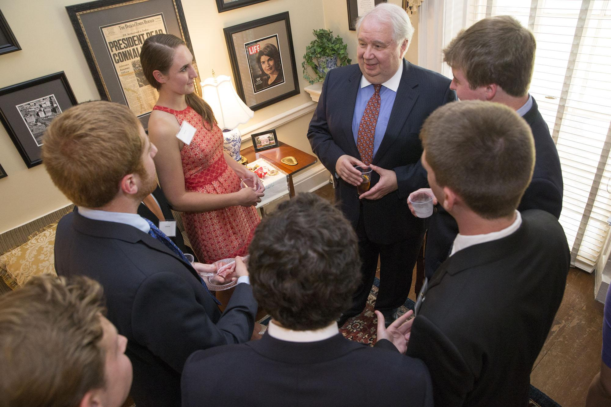 Russian Ambassador Sergey Kislyak met with several political science students at a reception in Pavilion IV before his presentation.  (Photo: Dan Addison)
