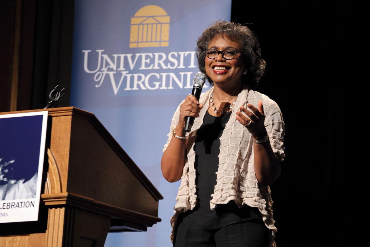 Professor and lawyer Anita Hill spoke to a capacity crowd at the Paramount Theater about defending civil rights.