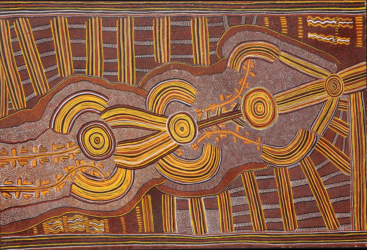 Mick Namarari Tjapaltjarri, Kangaroo Man Ancestor and Bush Tucker Dreaming at Walukaritji, c. 1973, acrylic on board, 87 x 58 cm. ©2016 Aboriginal Artists Agency Ltd, Australia.