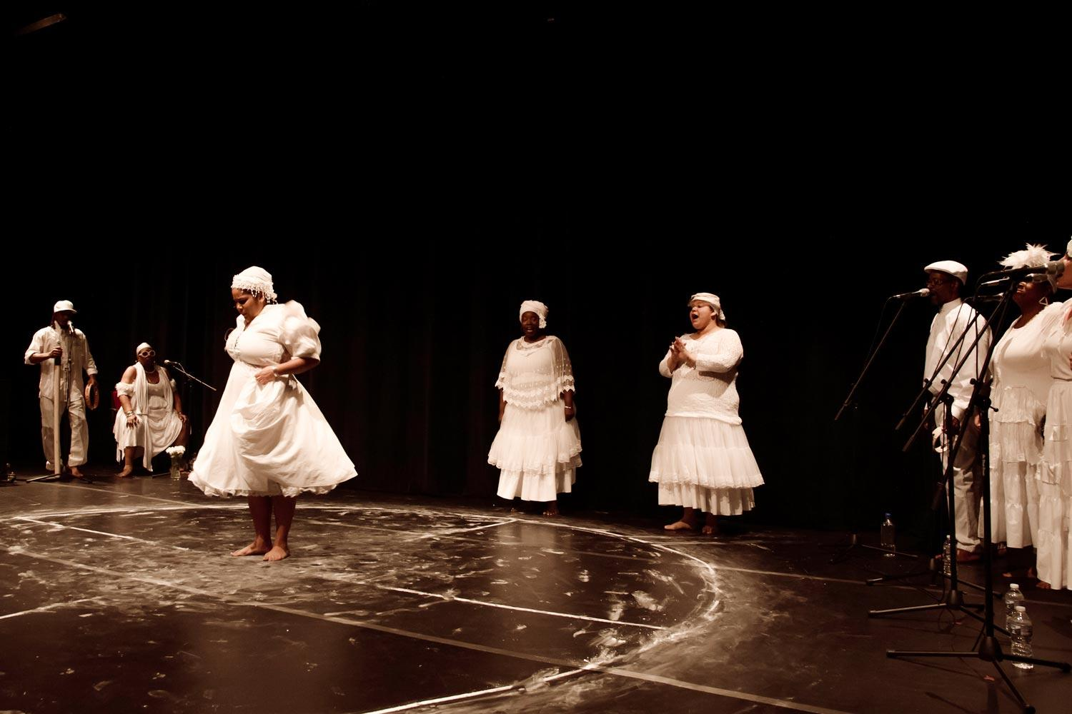 """The Dancing While Black and Dance Diaspora Collective gave a free performance of """"Run Mary Run,"""" using the ring-shout, an African-American dance form that uses call and response to connect and empower participants."""