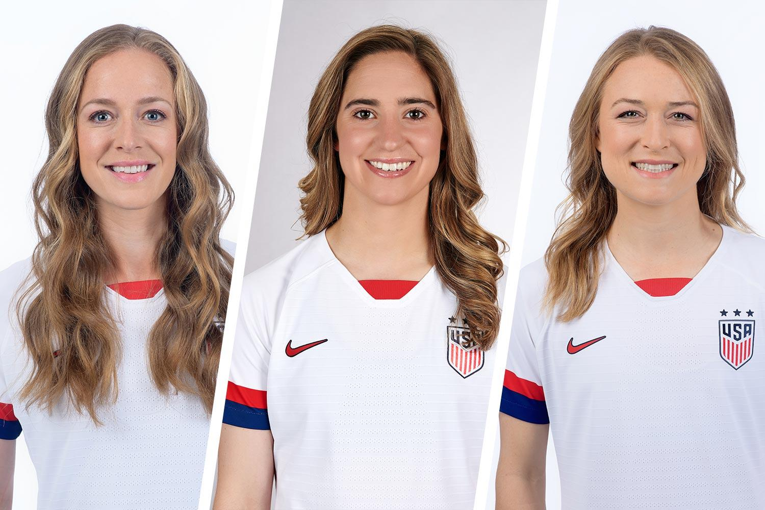 Former UVA women's soccer stars Becky Sauerbrunn, Morgan Brian and Emily Sonnett were part of the U.S. Women's National Team that won the World Cup on Sunday. (Photos courtesy of U.S. Soccer)