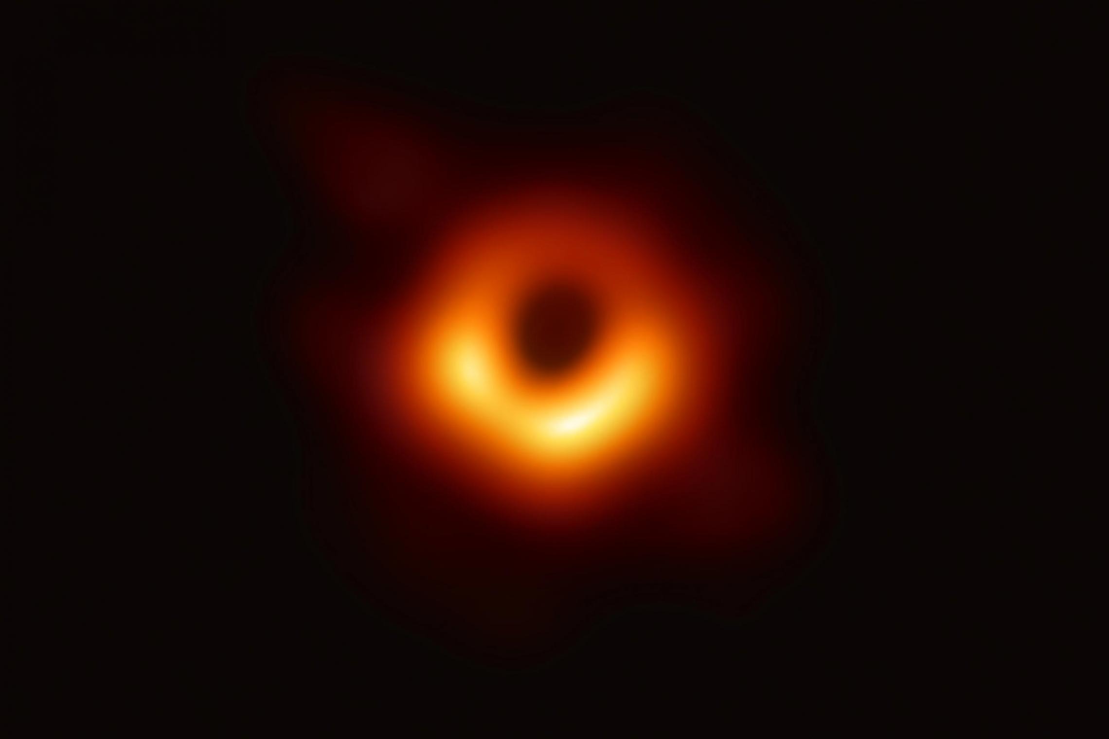 "The first direct image of a supermassive black hole ""provides a wonderfully simple and clear confirmation of Einstein's General Relativity Theory and of the existence of black holes,"" said Craig Sarazin, UVA's chair of astronomy. (Event Horizon Telescope"