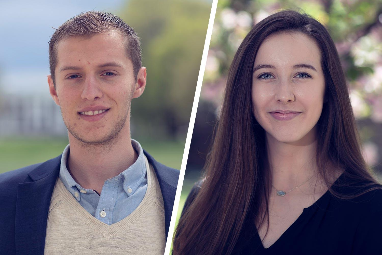 Joshua Zabin, left, and Katherine Gasser earned scholarships to support their study in Tajikistan and Poland, respectively.