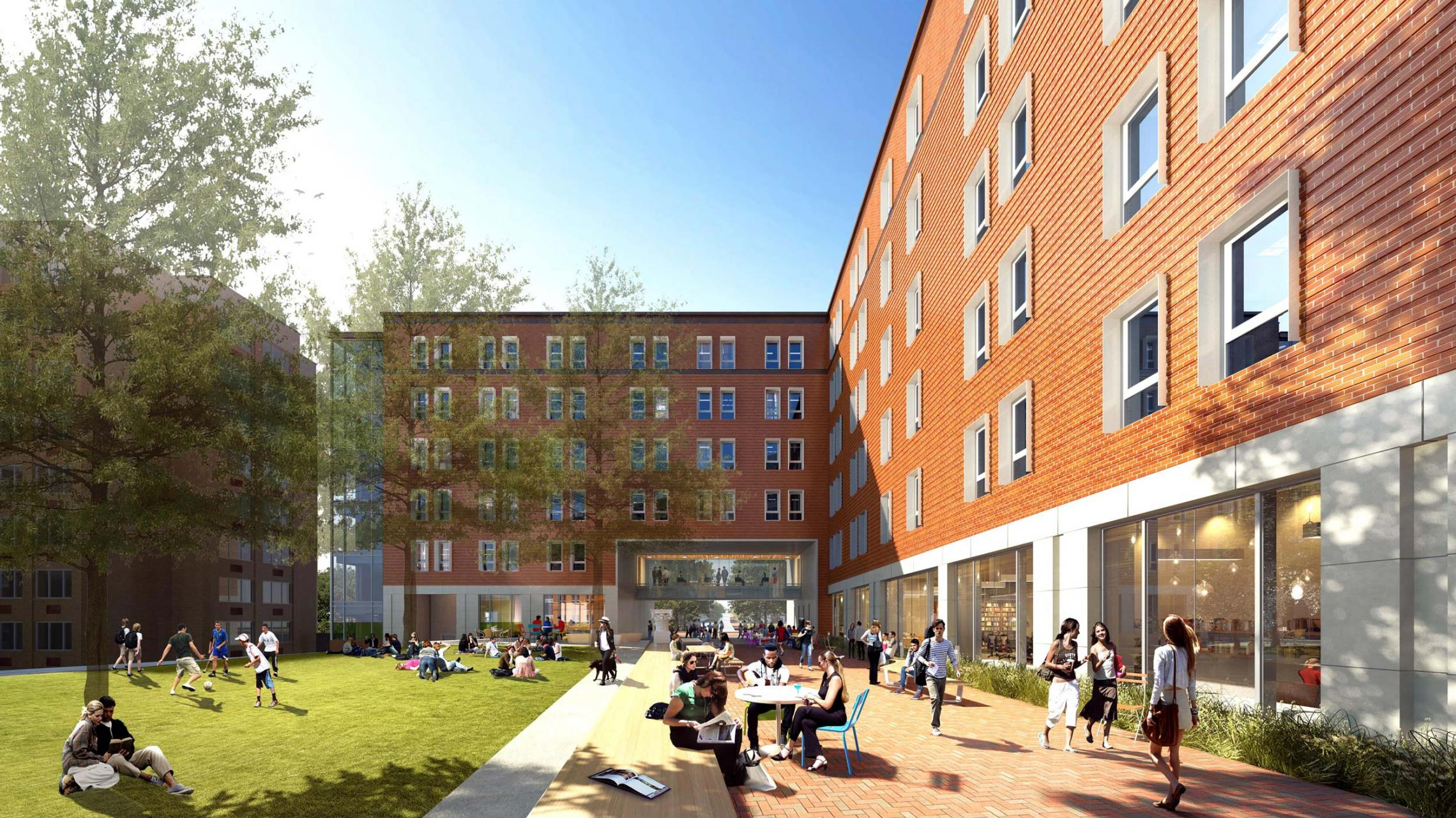 Bond House, a new upper-class student residence hall opening this fall, will serve as the anchor of a newly planned, sustainability-focused, student-centered neighborhood on Brandon Avenue.