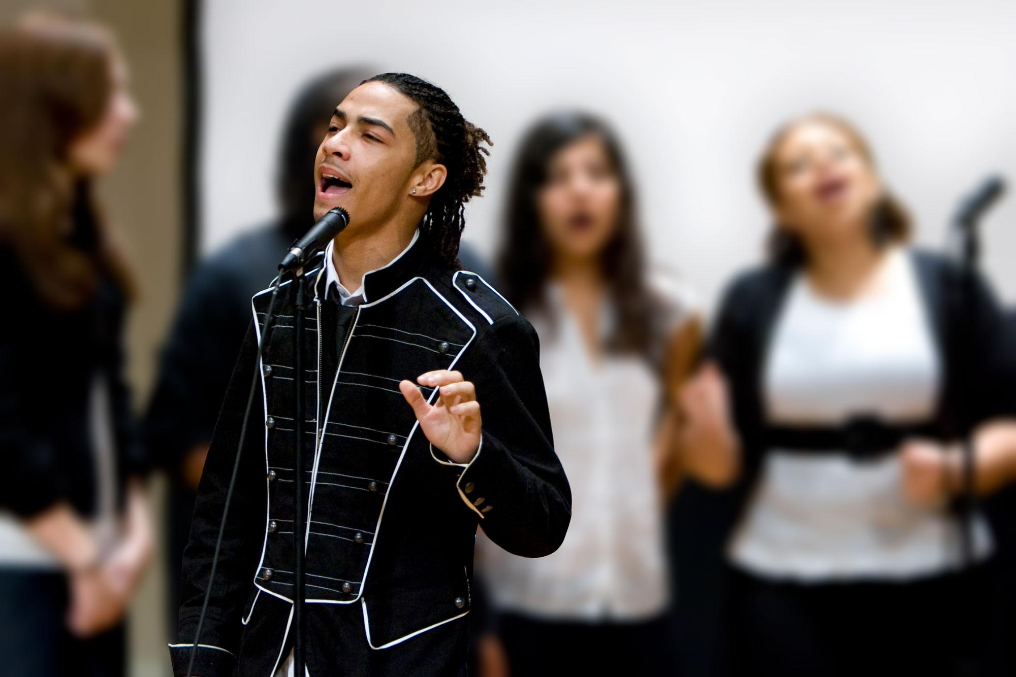 Rogers, a 2009 graduate, is seen here performing with the UVA a cappella group Remix in 2008. (Photo by Jane Haley)