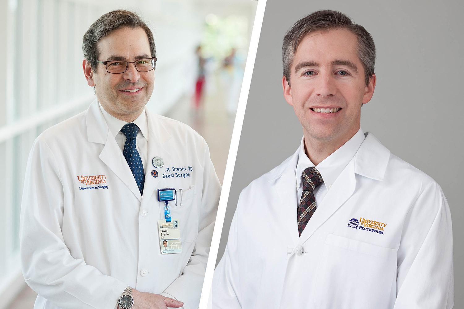 "Dr. David Brenin (left) and Dr. Patrick Dillon are investigating the potential of focused ultrasound to ""unmask"" metastatic breast cancer cells so the immune system can recognize and potentially destroy them."