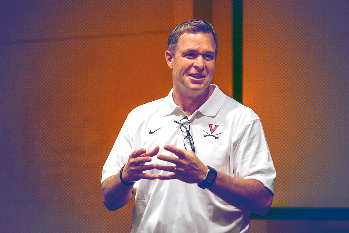 Bronco Mendenhall spoke Friday to students at UVA's McIntire School of Commerce, outlining how faith and business principles inform his approach to coaching Cavalier football.