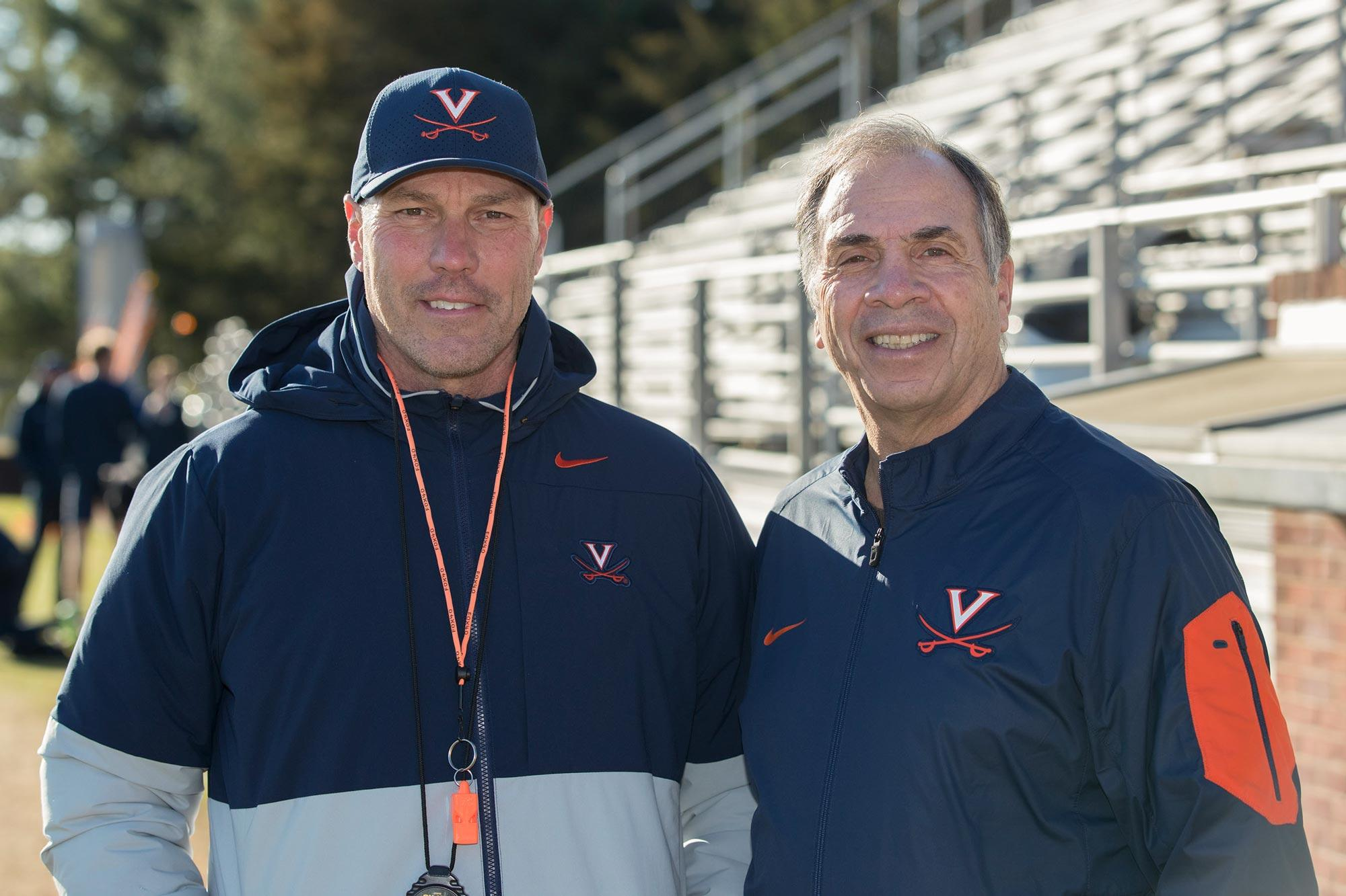 University of Virginia head soccer coach George Gelnovatch and and former coach Bruce Arena