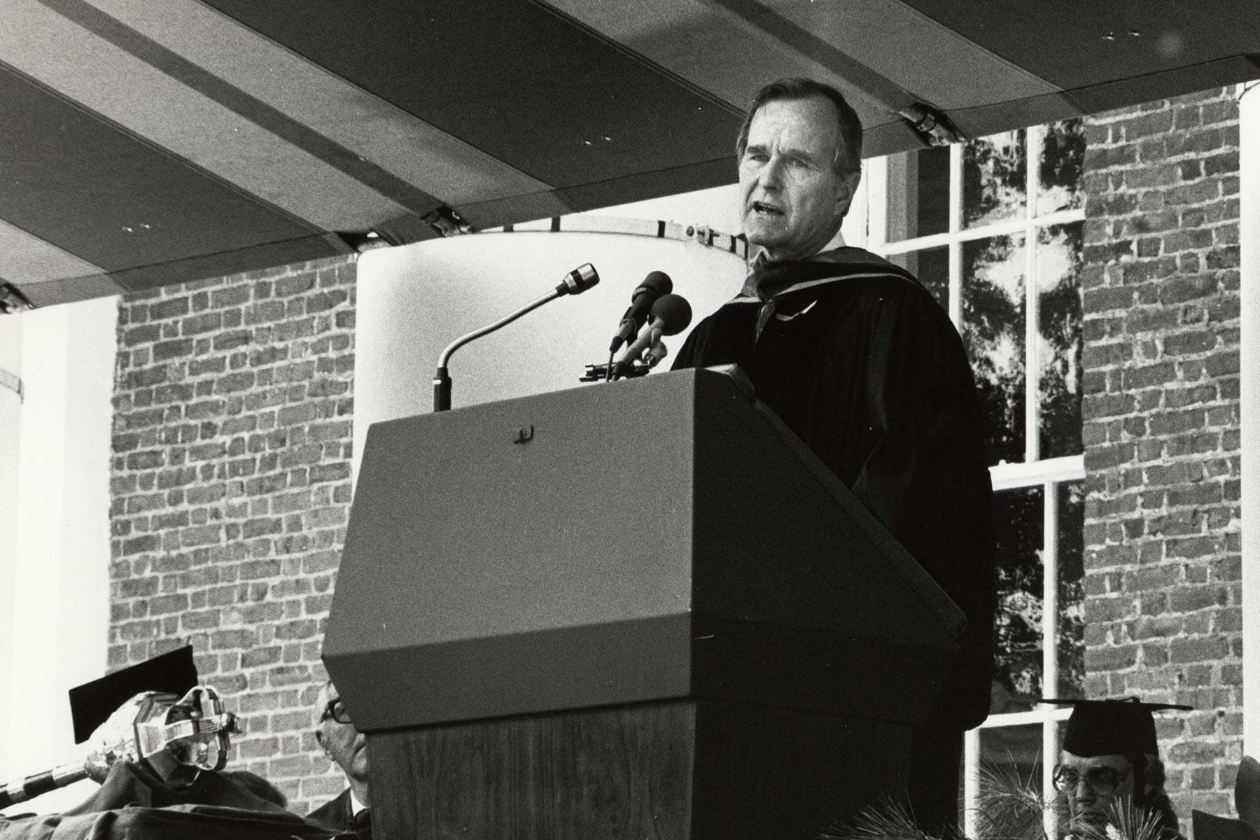 Then-Vice President George H.W. Bush addressed graduates at UVA's Final Exercises in 1981.