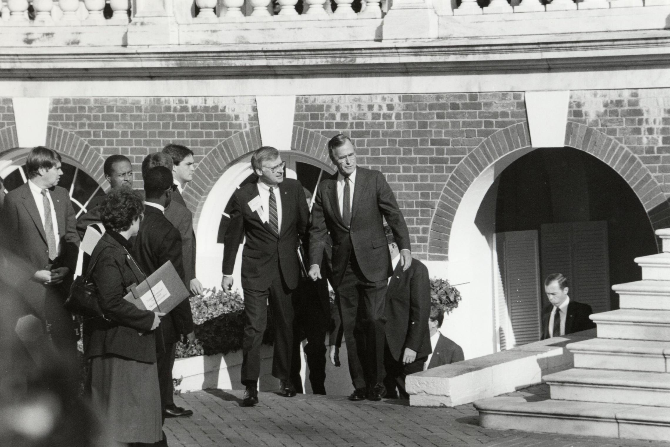 In addition to his graduation speech in 1981 and an education summit in 1989, George H.W. Bush was on Grounds in 1988, just before beginning his presidency. (Photo courtesy Albert and Shirley Small Special Collections Library)