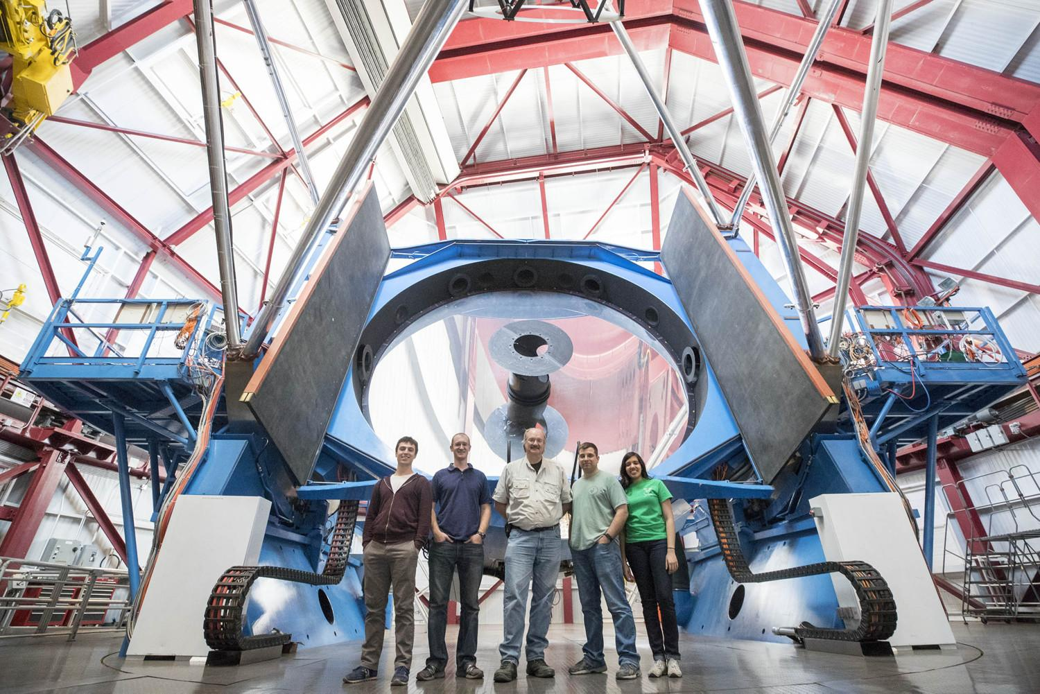 A UVA team is in Chile installing the APOGEE astronomical instrument. They recently visited the nearby Magellan telescope, pictured, and received a tour from astronomers there. (Photos by Sanjay Suchak, University Communications)
